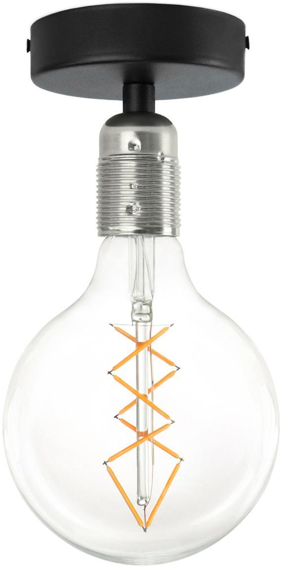 Deckenleuchte Uno ohne Leuchtmittel, Baldachin: Metall, pulverbeschichtet, Schwarz, Nickel, Ø 10 x H 10 cm
