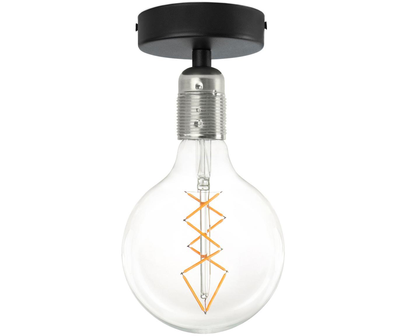 Plafoniera senza lampadina Uno, Baldacchino: metallo verniciato a polv, Nero, nichel, Ø 10 x Alt. 10 cm