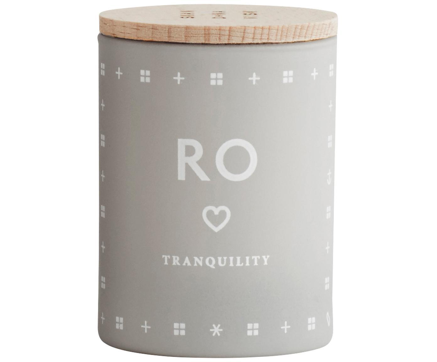 Candela profumata Ro (erba fresca), Contenitore: vetro, Coperchio: legno di faggio, Grigio chiaro, Ø 4 x A 6 cm