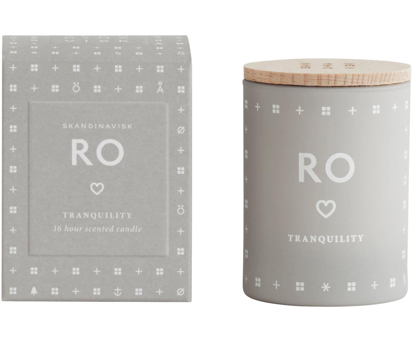 Duftkerze Ro (Frisches Gras), Behälter: Glas, Deckel: Buchenholz, Hellgrau, Ø 4 x H 6 cm