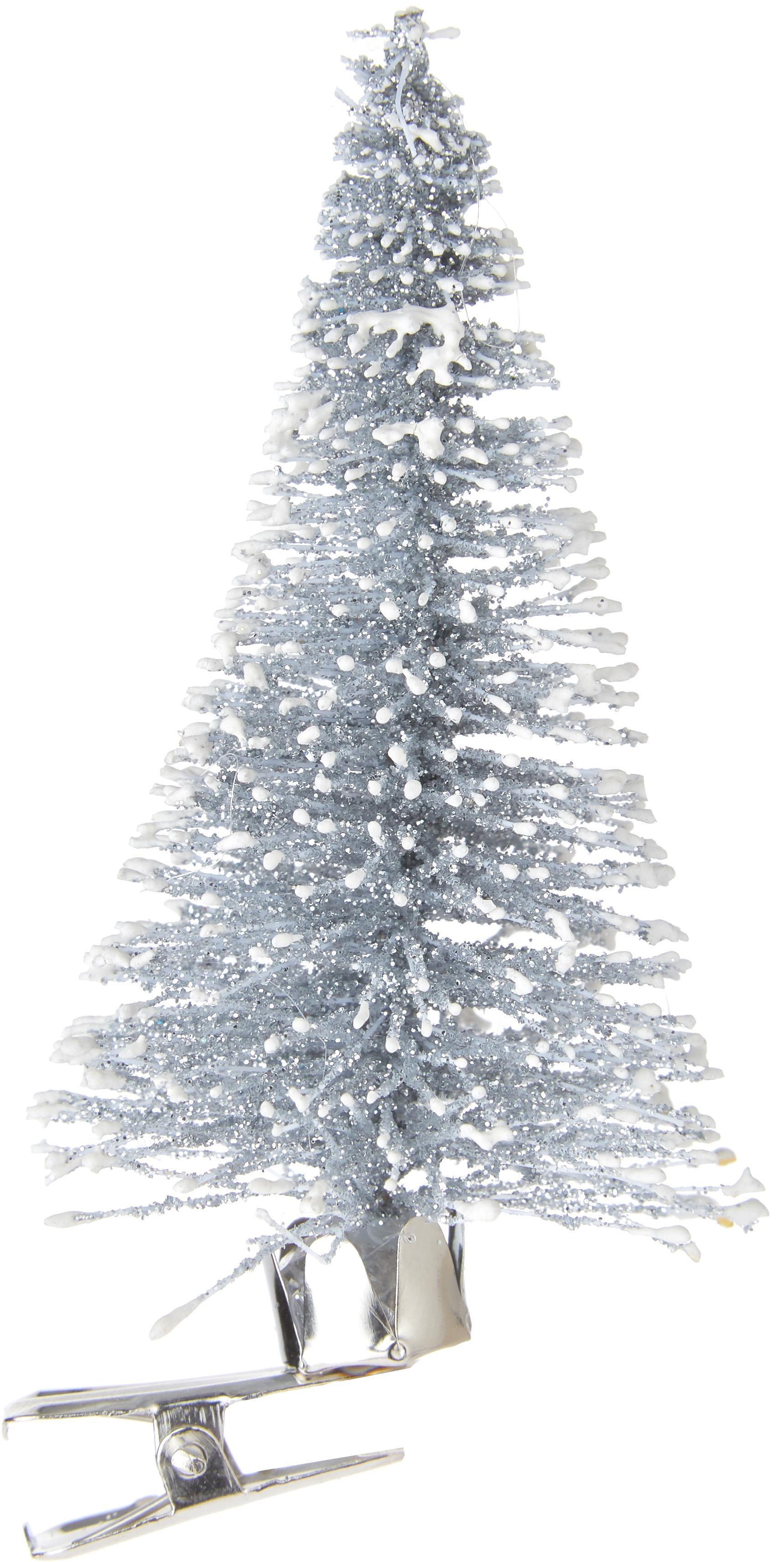 Baumanhänger mit Clip Felicia, Kunststoff (PE), Silberfarben, Ø 4 x H 9 cm