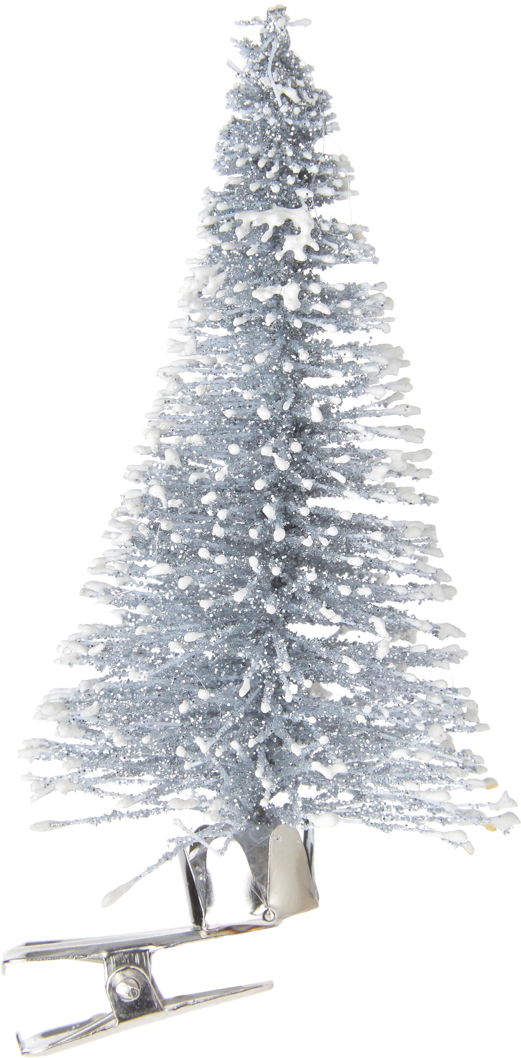 Adorno navideño con clip Felicia, Plástico (PE), Plateado, Ø 4 x Al 9 cm