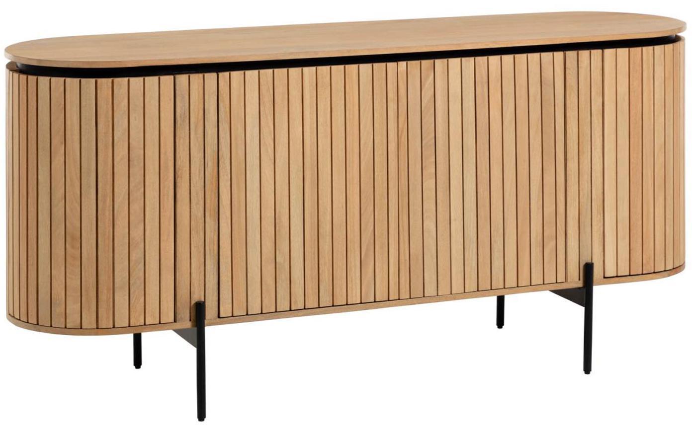 Credenza in legno con ante Licia, Piedini: metallo verniciato, Beige, nero, Larg. 170 x Alt. 80 cm