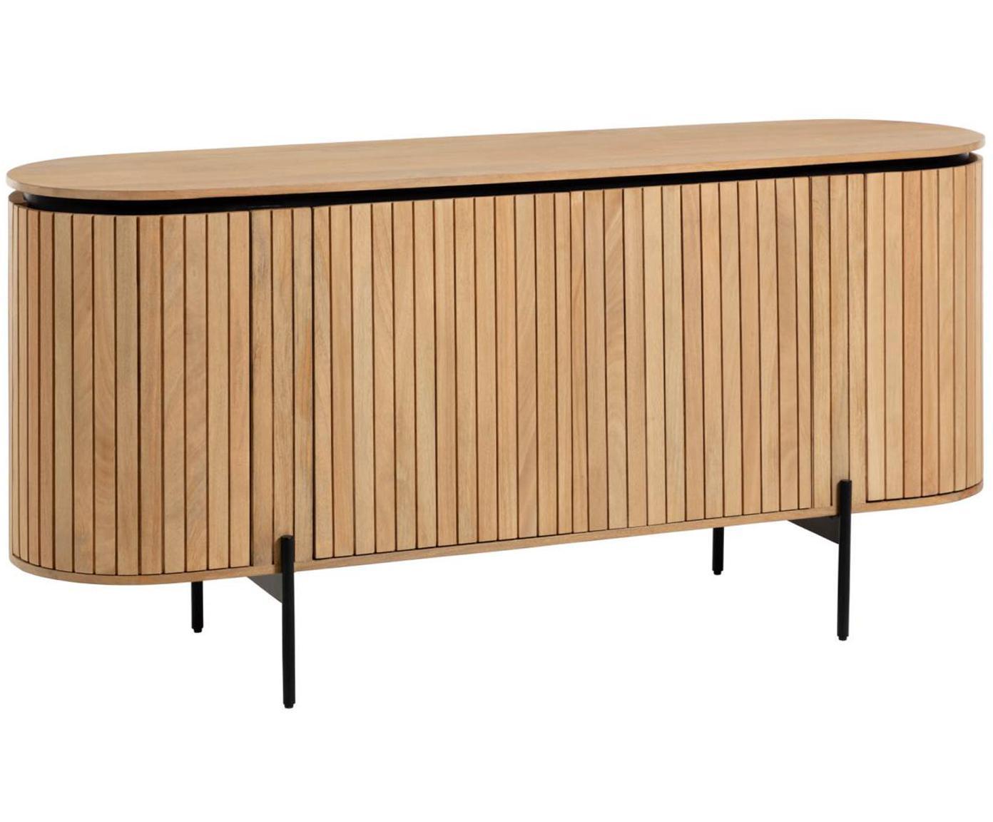 Komoda z drewna z drzwiczkami Licia, Korpus: drewno mangowe, polerowan, Nogi: metal lakierowany, Beżowy, czarny, S 170 x W 80 cm