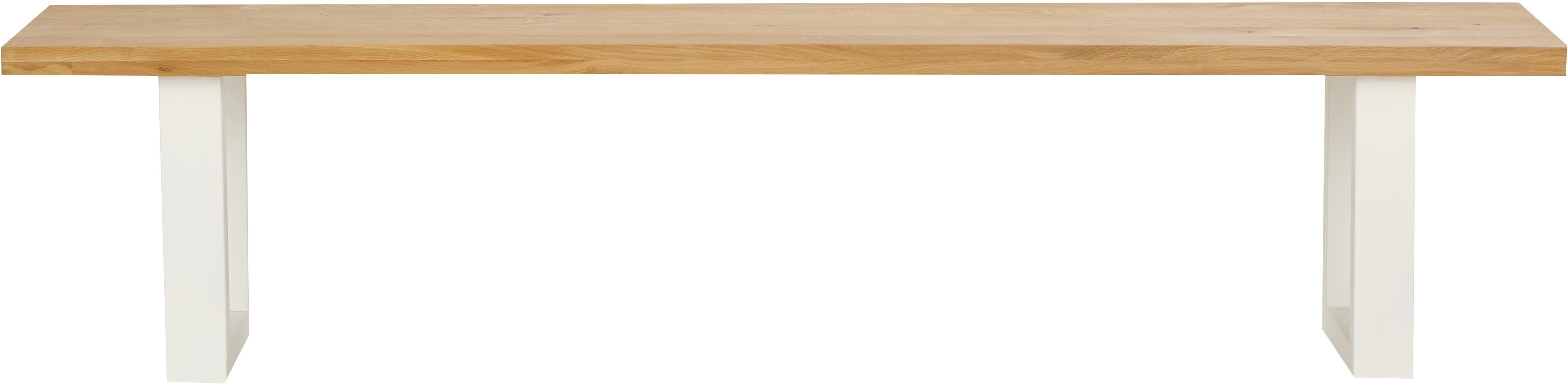 Sitzbank Oliver aus Eichenholz, Sitzfläche: Europäische Wildeiche, ma, Beine: Matt lackierter Stahl, Sitzfläche: WildeicheBeine: Weiß, 180 x 45 cm