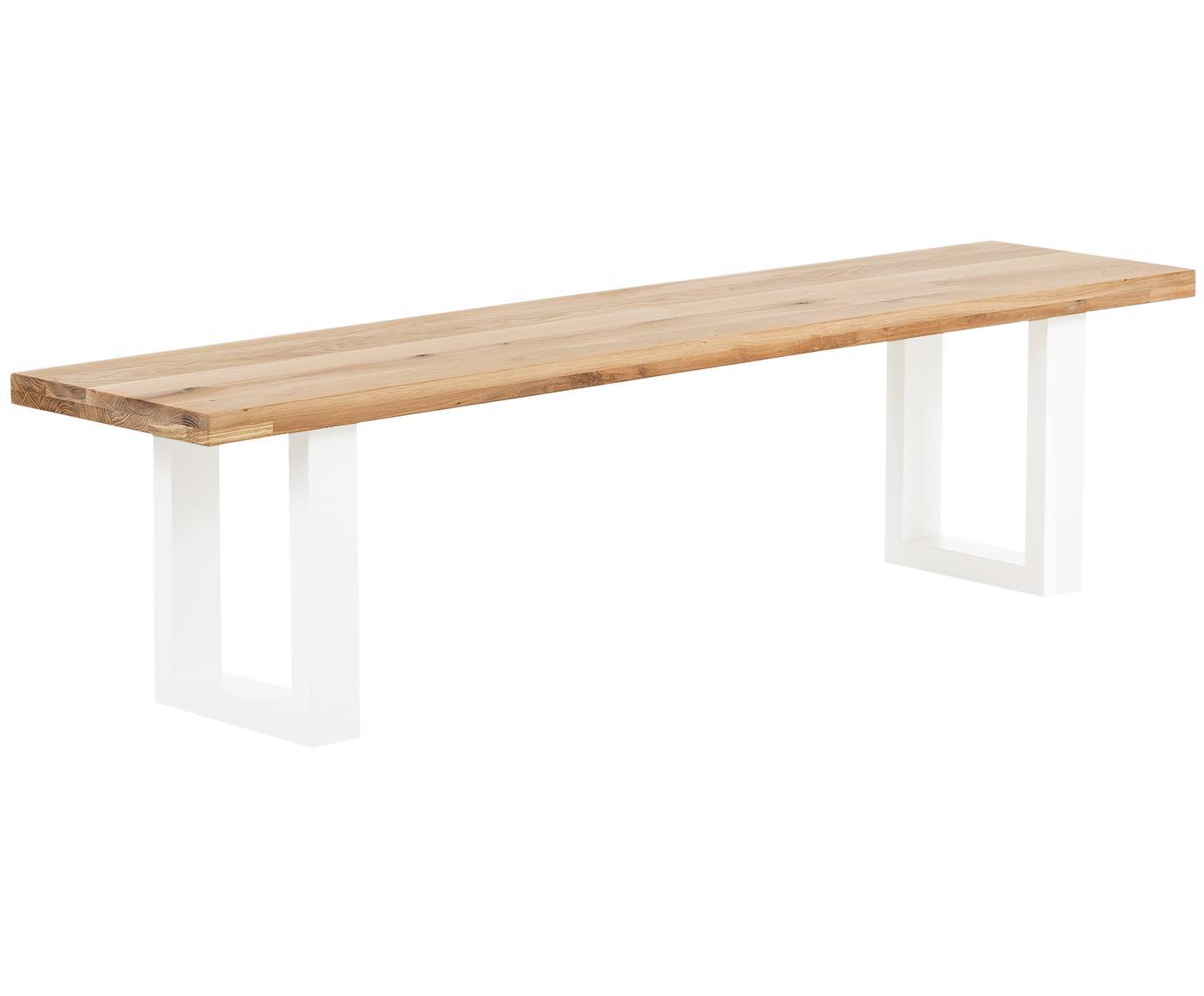 Sitzbank Oliver aus Eichenholz, Sitzfläche: Europäische Wildeiche, ma, Beine: Matt lackierter Stahl, Sitzfläche: WildeicheBeine: Weiß, 200 x 45 cm
