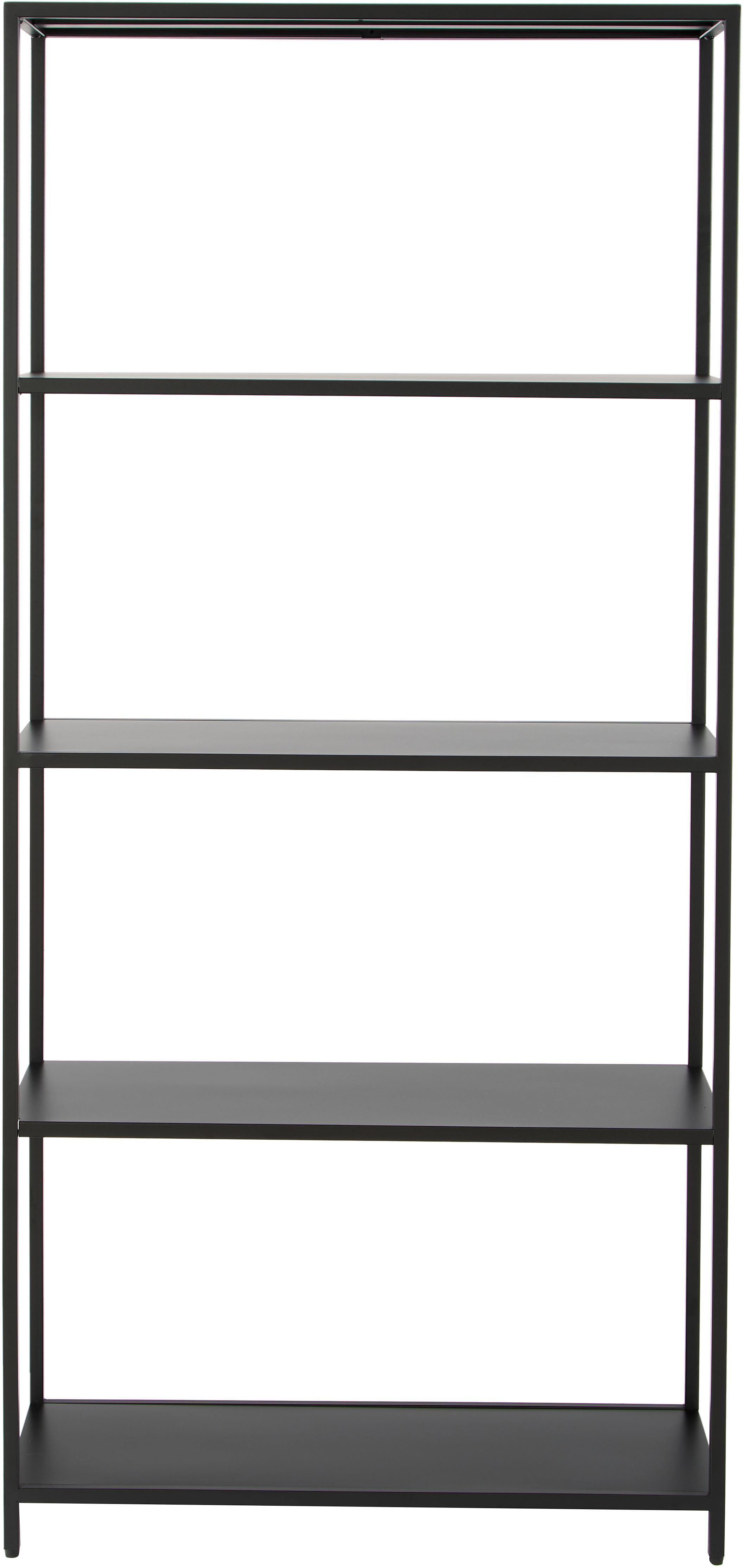 Metall-Regal Newton in Schwarz, Metall, pulverbeschichtet, Schwarz, 70 x 150 cm