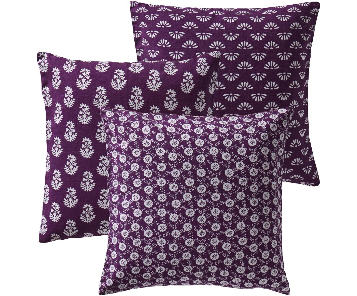 Set di 3 federe arredo con motivi Move in lilla, 50% lino, 50% cotone, Lilla, Larg. 50 x Lung. 50 cm