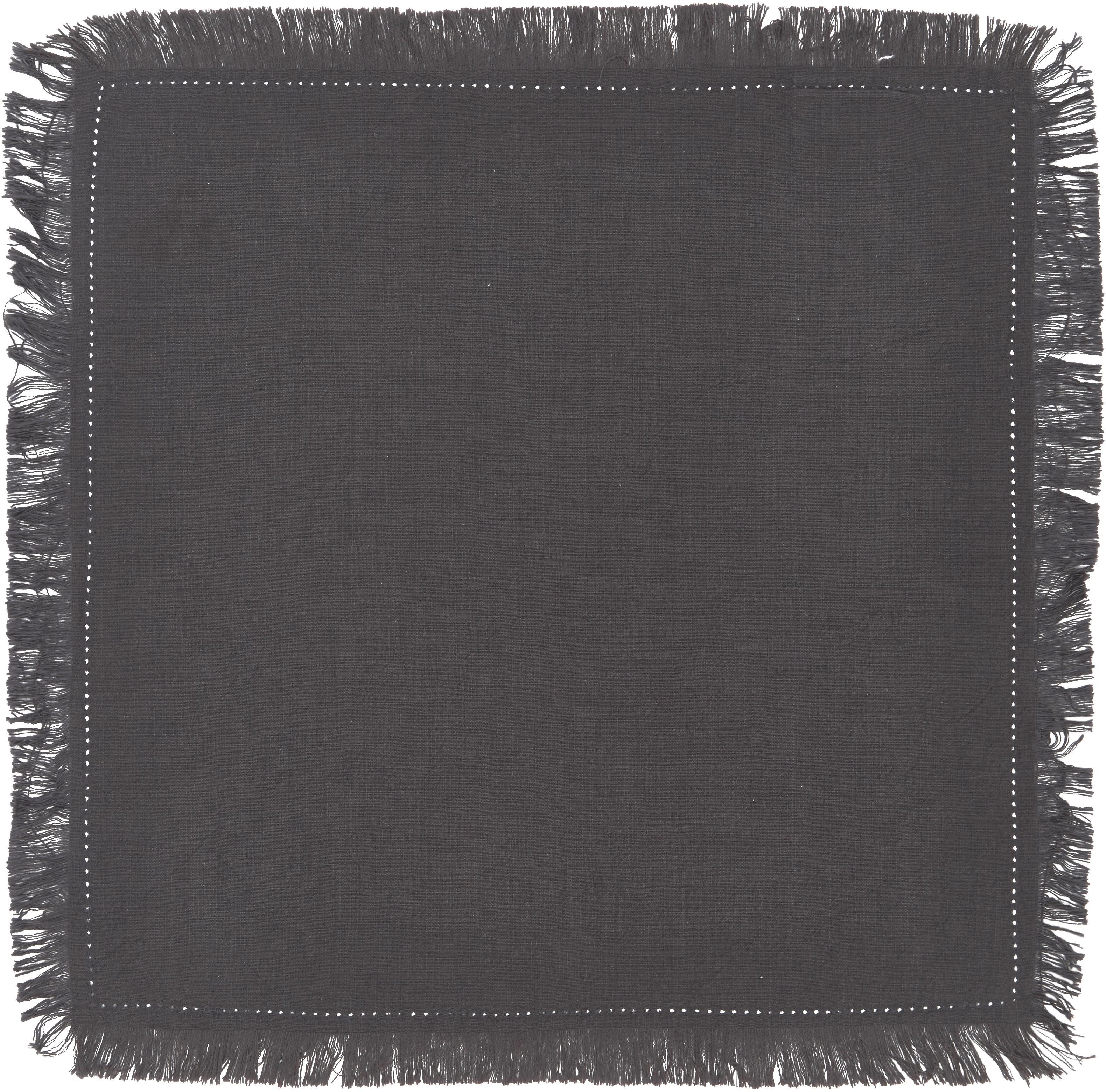 Katoenen servetten Hilma met franjes, 2 stuks, Katoen, Zwart, 45 x 45 cm