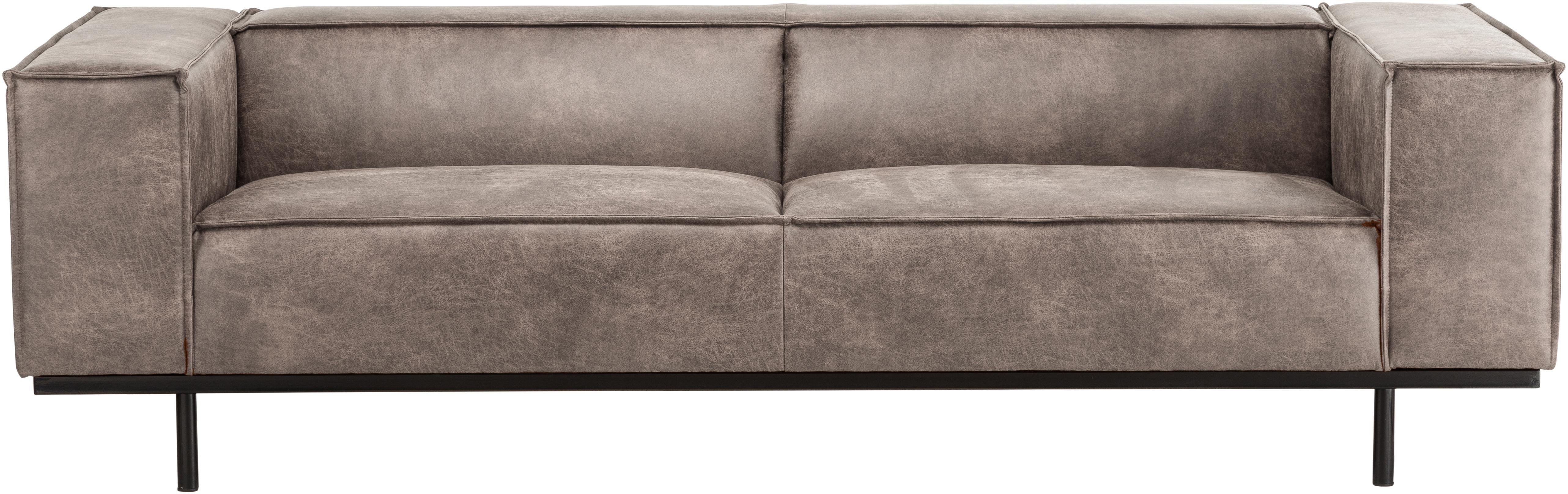 Sofá Abigail (2plazas), Tapizado: fibra de cuero (70%cuero, Patas: acero, pintado, Color coñac, An 190 x F 95 cm
