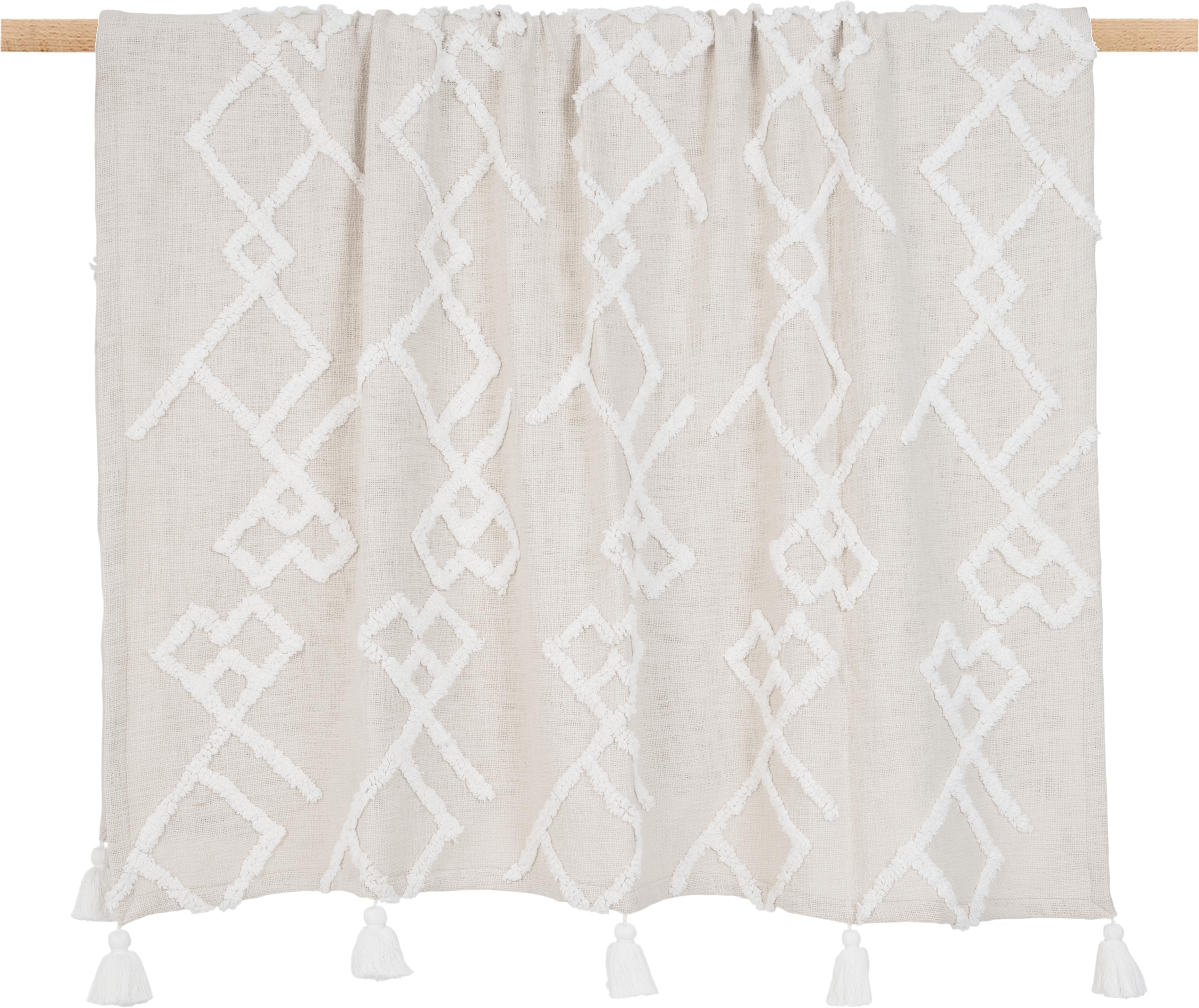 Plaid Tikki mit getufteter Verzierung, 100% Baumwolle, Beige, 130 x 170 cm