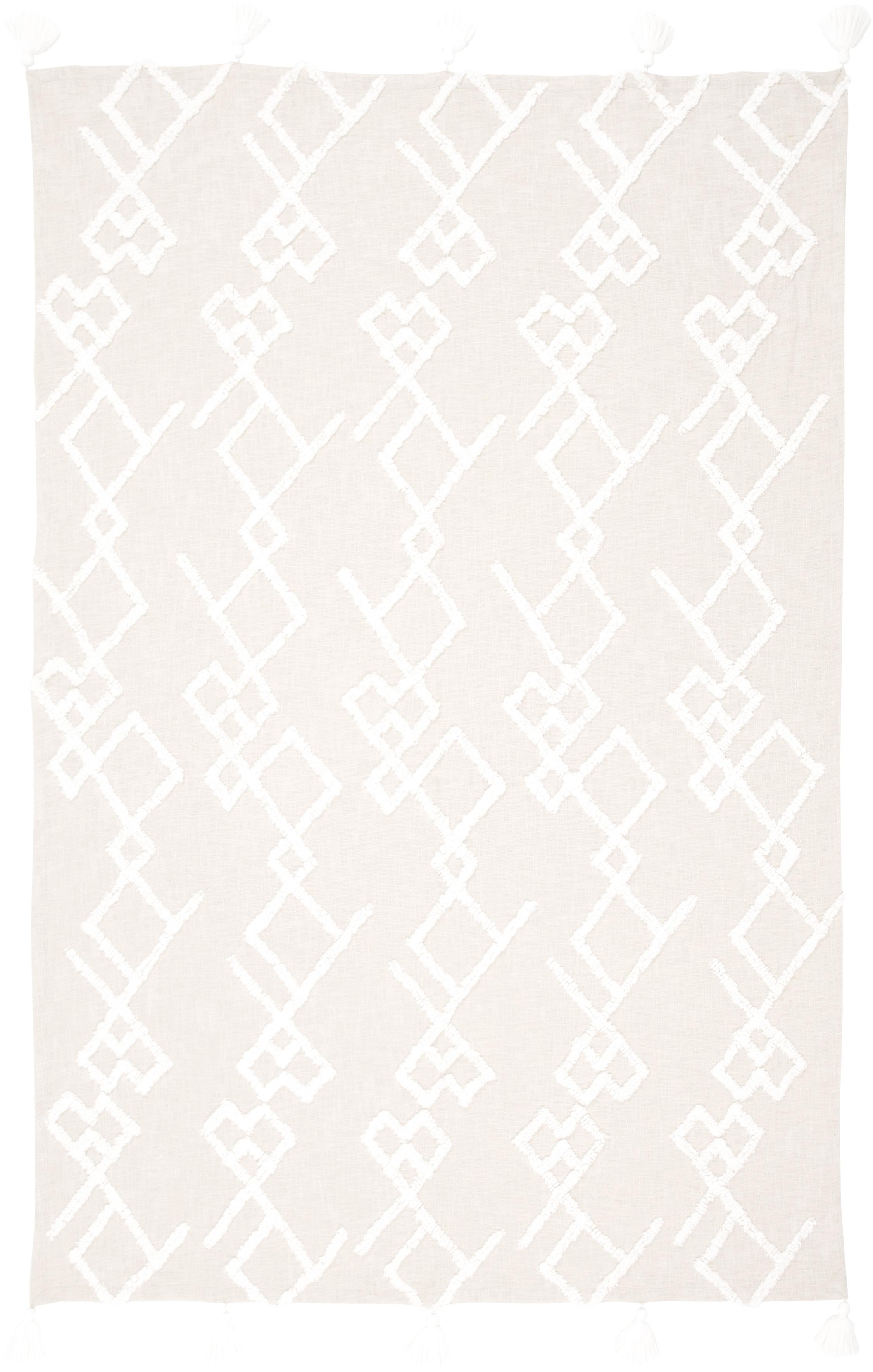 Manta texturizada Tikki, Algodón, Beige, An 130 x L 170 cm