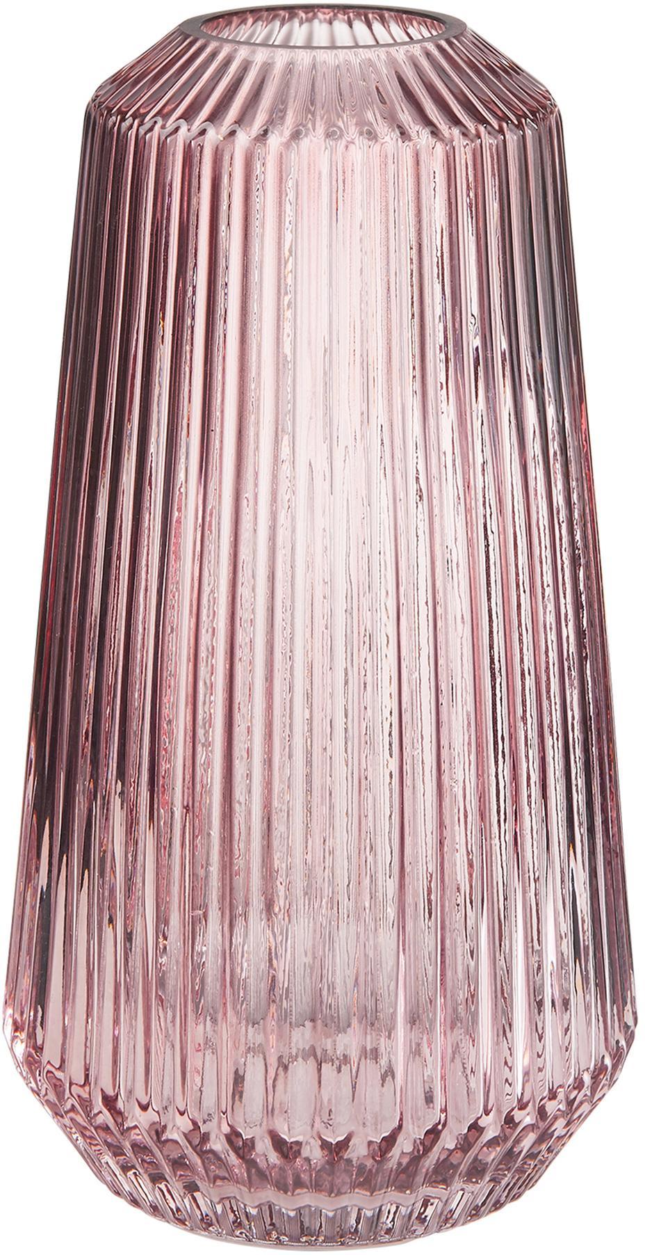 Vaso in vetro Lily, Vetro, Rosa trasparente, Ø 14 x Alt. 25 cm