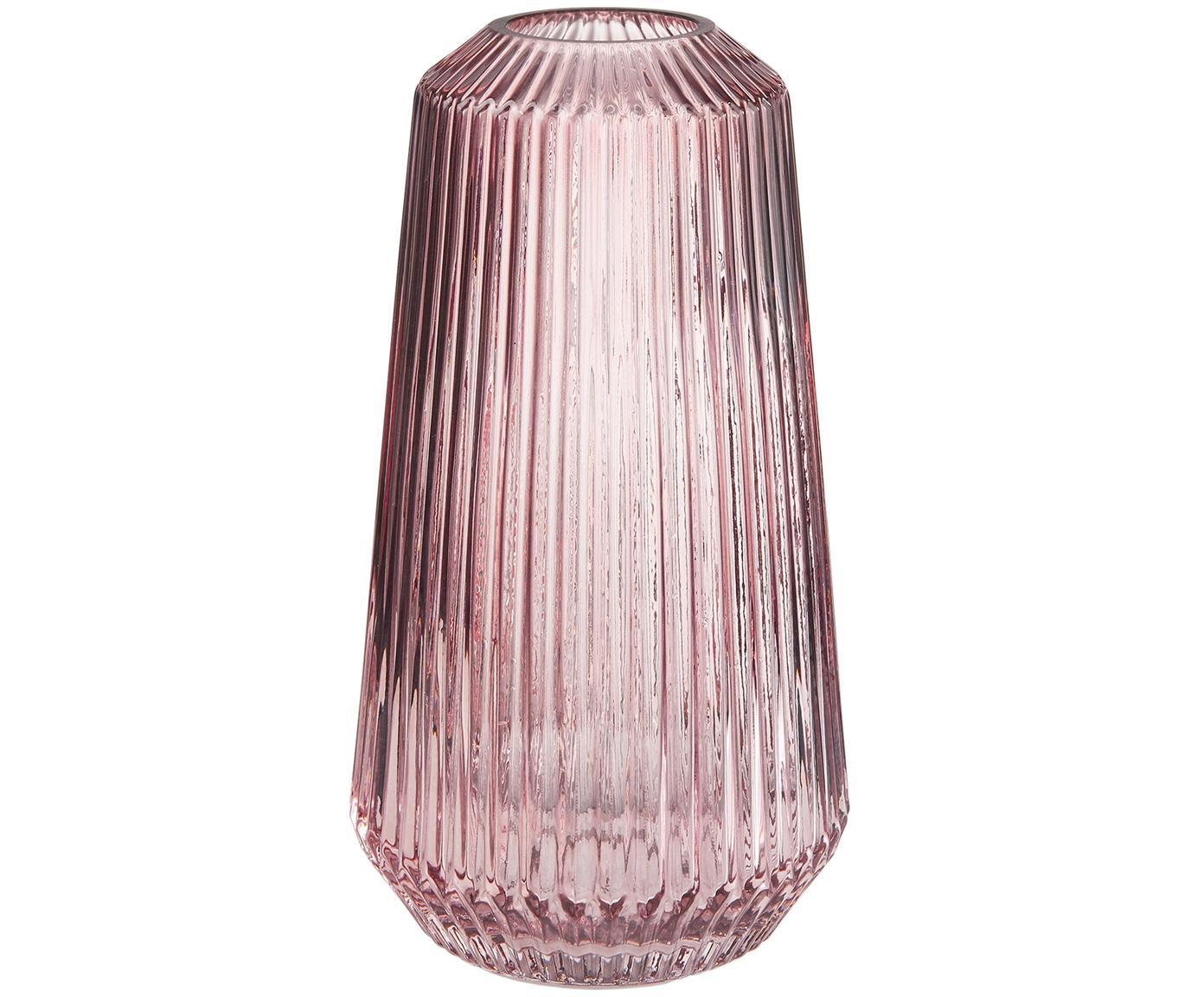 Jarrón de vidrio Lily, Vidrio, Rosa, transparente, Ø 14 x Al 25 cm
