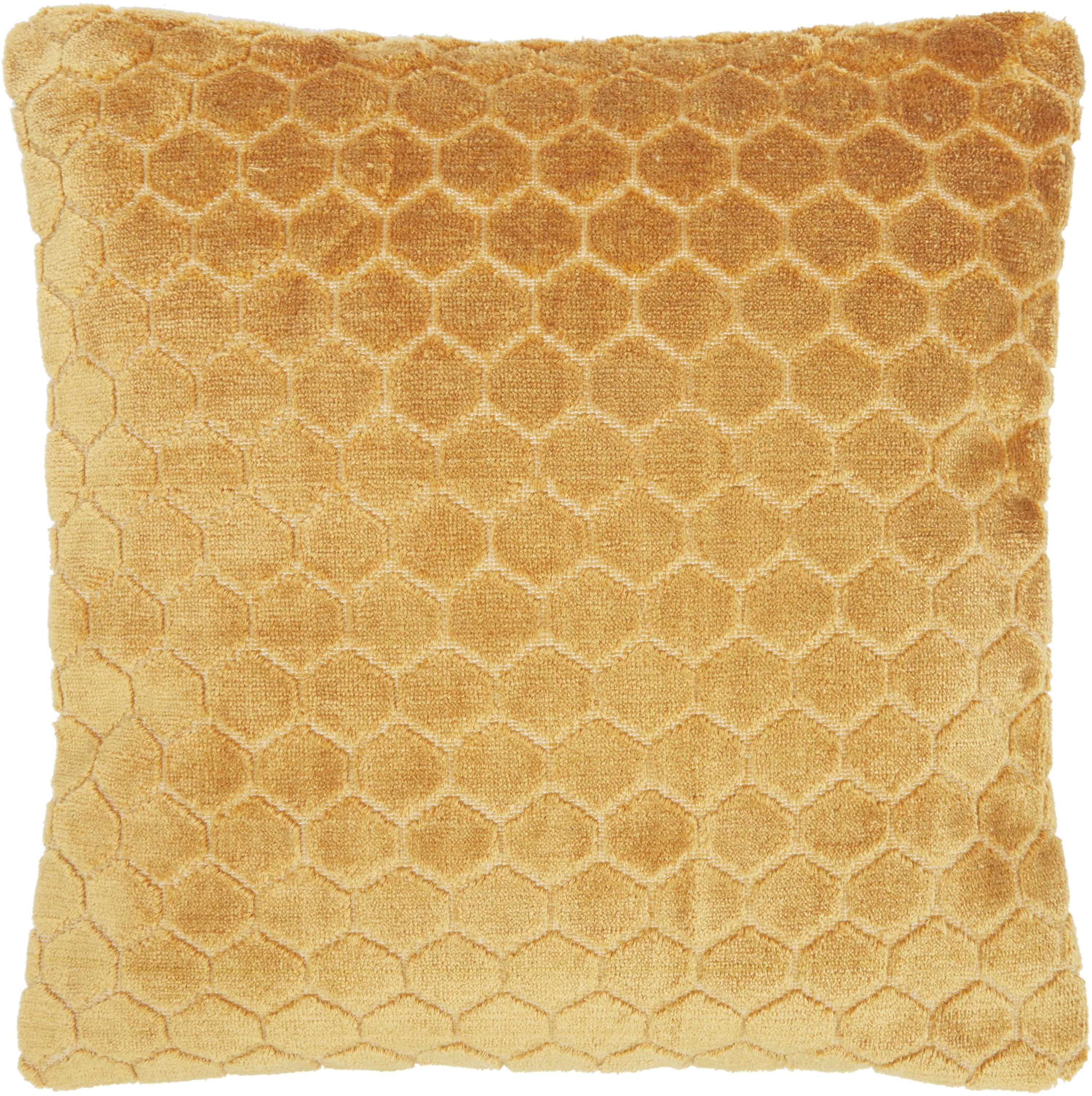 Samt-Kissenhülle Carraway, Vorderseite: 51% Polyester, 49% Viskos, Rückseite: 100% Baumwolle, Senfgelb, 45 x 45 cm