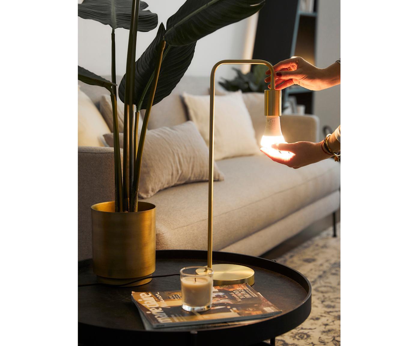 Lampa biurkowa Flow, Mosiądz, szczotkowany, S 22 x W 56 cm