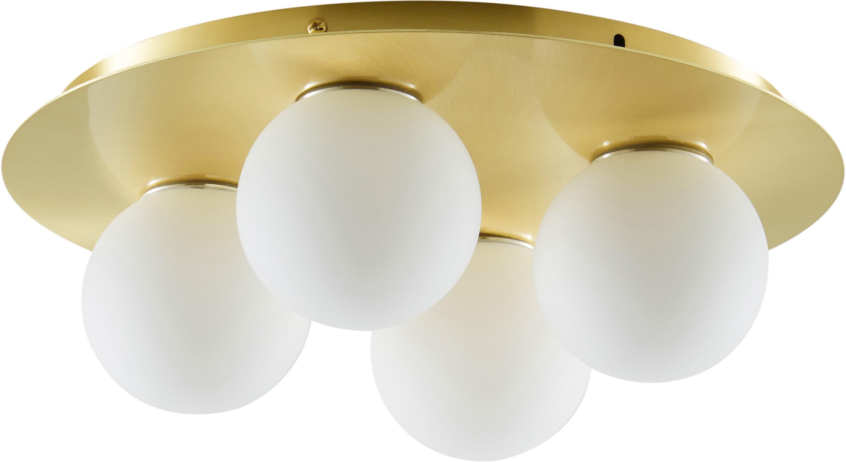 Plafondlamp Hitch, Baldakijn en fitting: mat messingkleurig. Lampenkappen: wit, Ø 36 x H 12 cm