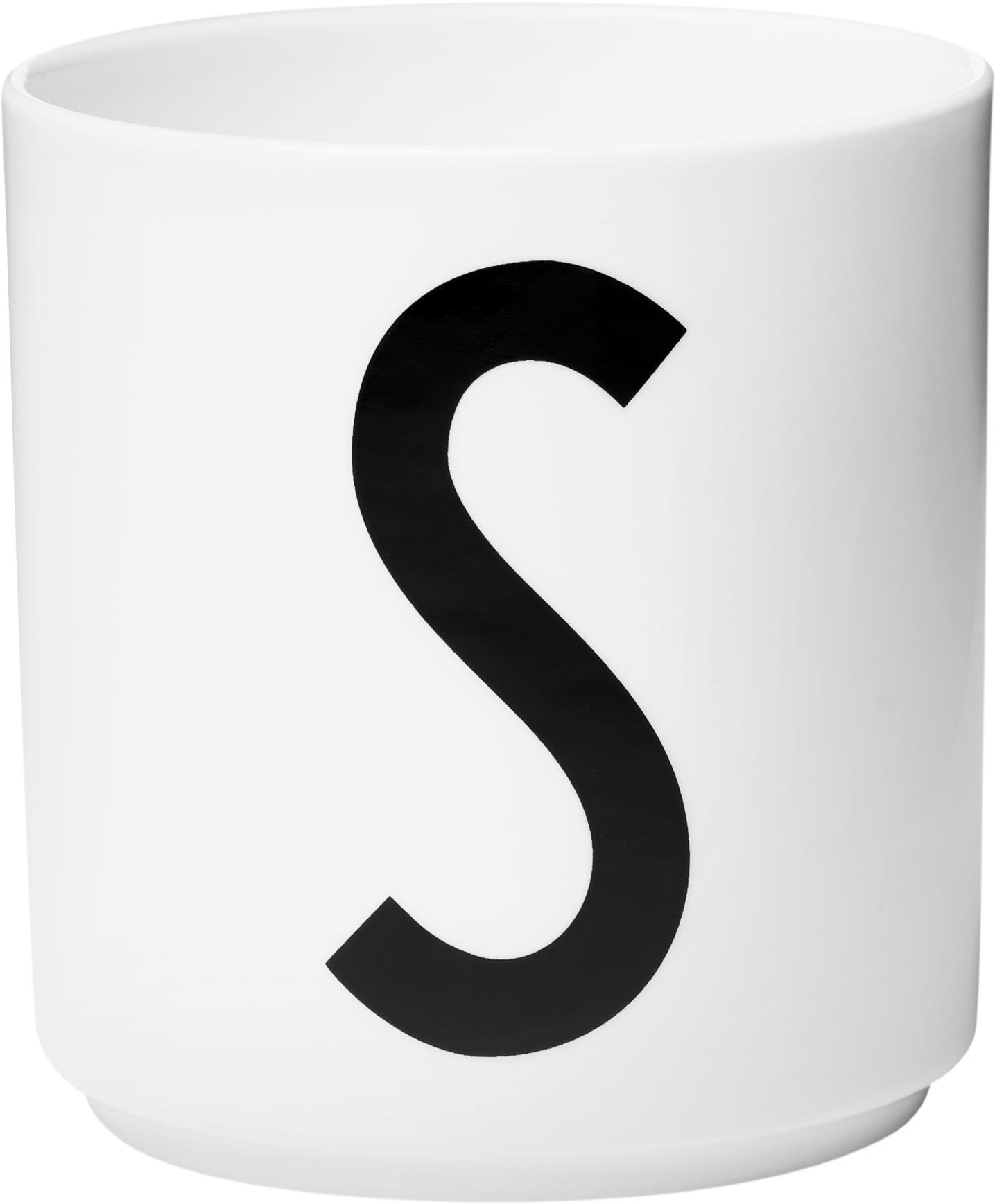 Design Becher Personal mit Buchstaben (Varianten von A bis Z), Fine Bone China (Porzellan), Weiss, Schwarz, Becher S