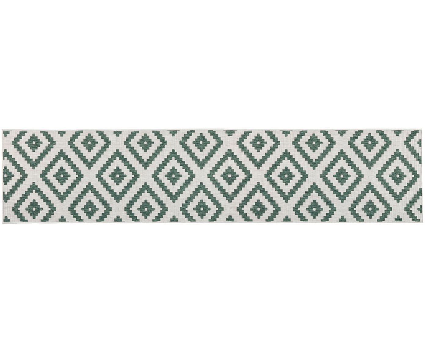 Alfombra reversible de interior/exterior Malta, Verde, crema, An 80 x L 350 cm