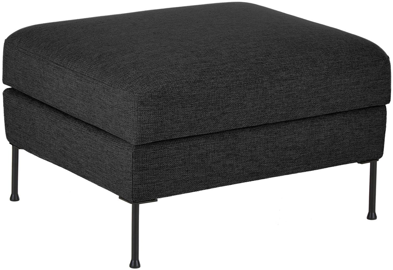 Poggiapiedi contenitore da divano Cucita, Rivestimento: tessuto (poliestere) 45.0, Struttura: legno di pino massiccio, Piedini: metallo, dipinto, Antracite, Larg. 85 x Alt. 42 cm