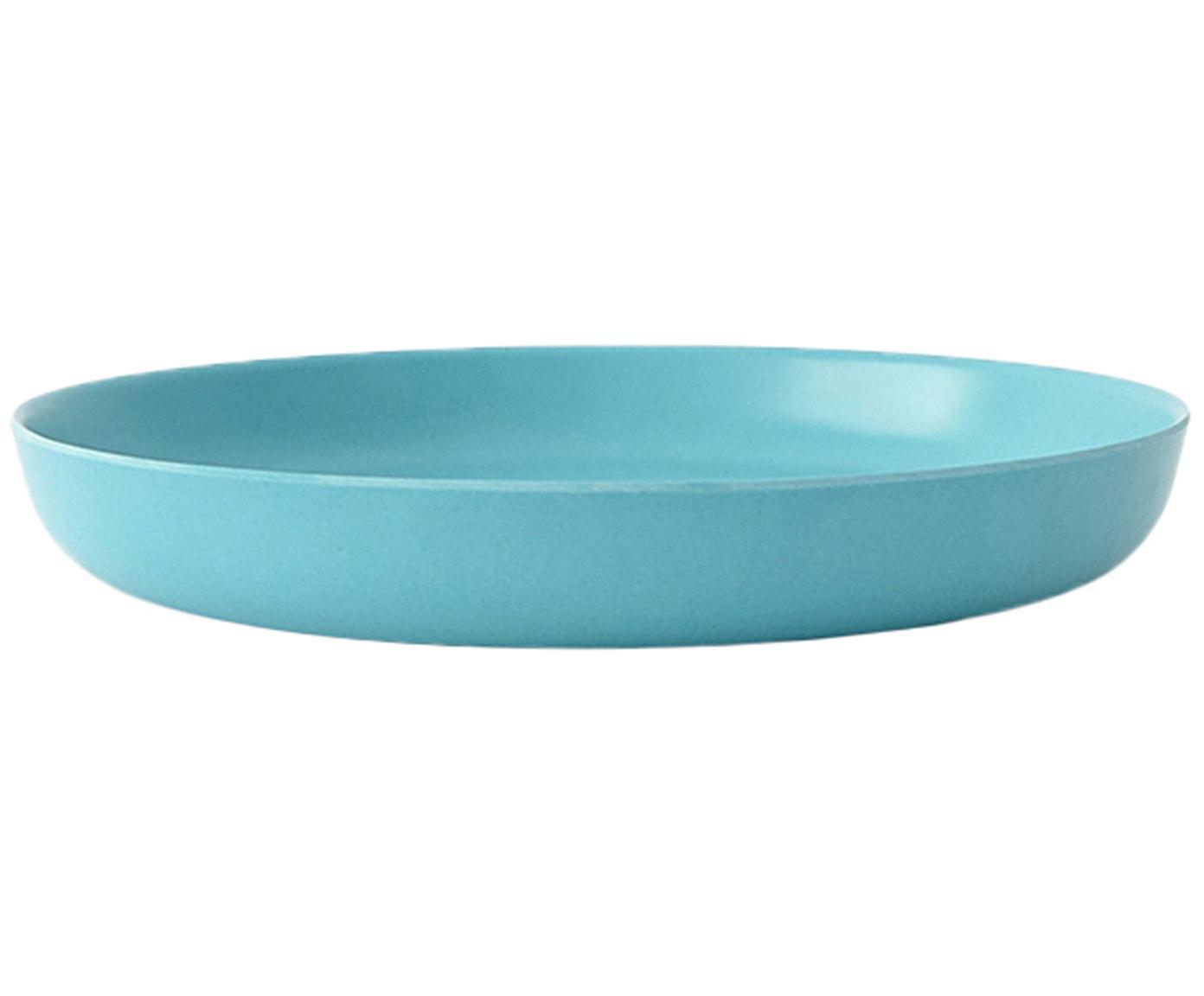Ontbijtborden Bambino, 2 stuks, Bamboehoutvezels, melamine, voedselveilig BPA-, PVC- en ftalatenvrij, Turquoise, Ø 18 x H 3 cm