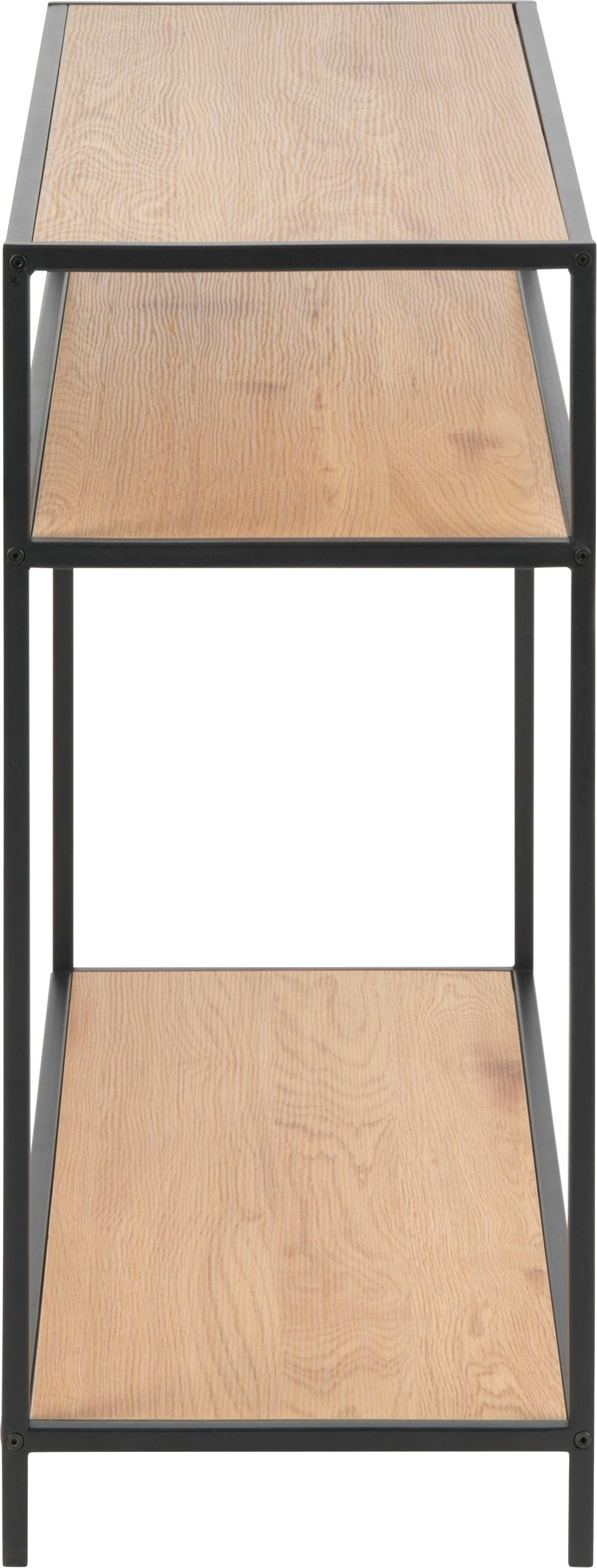 Konsole Seaford aus Holz und Metall, Einlegeböden: Mitteldichte Holzfaserpla, Gestell: Metall, pulverbeschichtet, Einlegeböden: Wildeiche Gestell: Schwarz, B 100 x T 35 cm