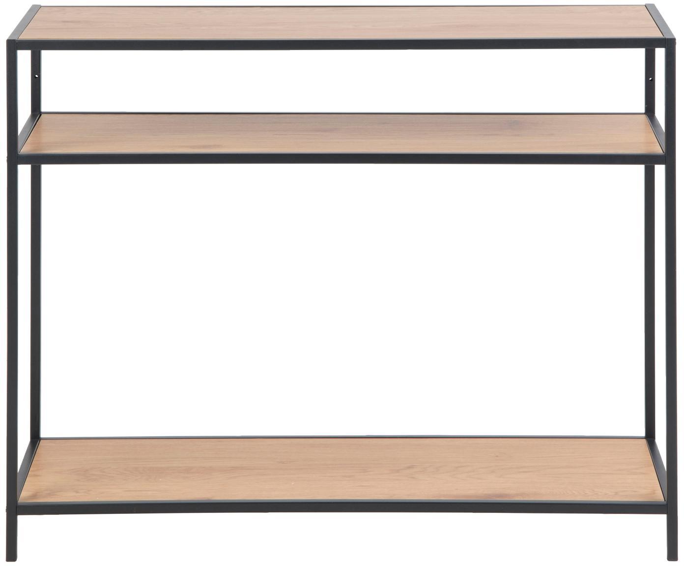 Sidetable Seaford met 3 plateaus, Frame: gepoedercoat metaal, Planken: eikenhoutkleurig. Frame: zwart, B 100 x D 35 cm