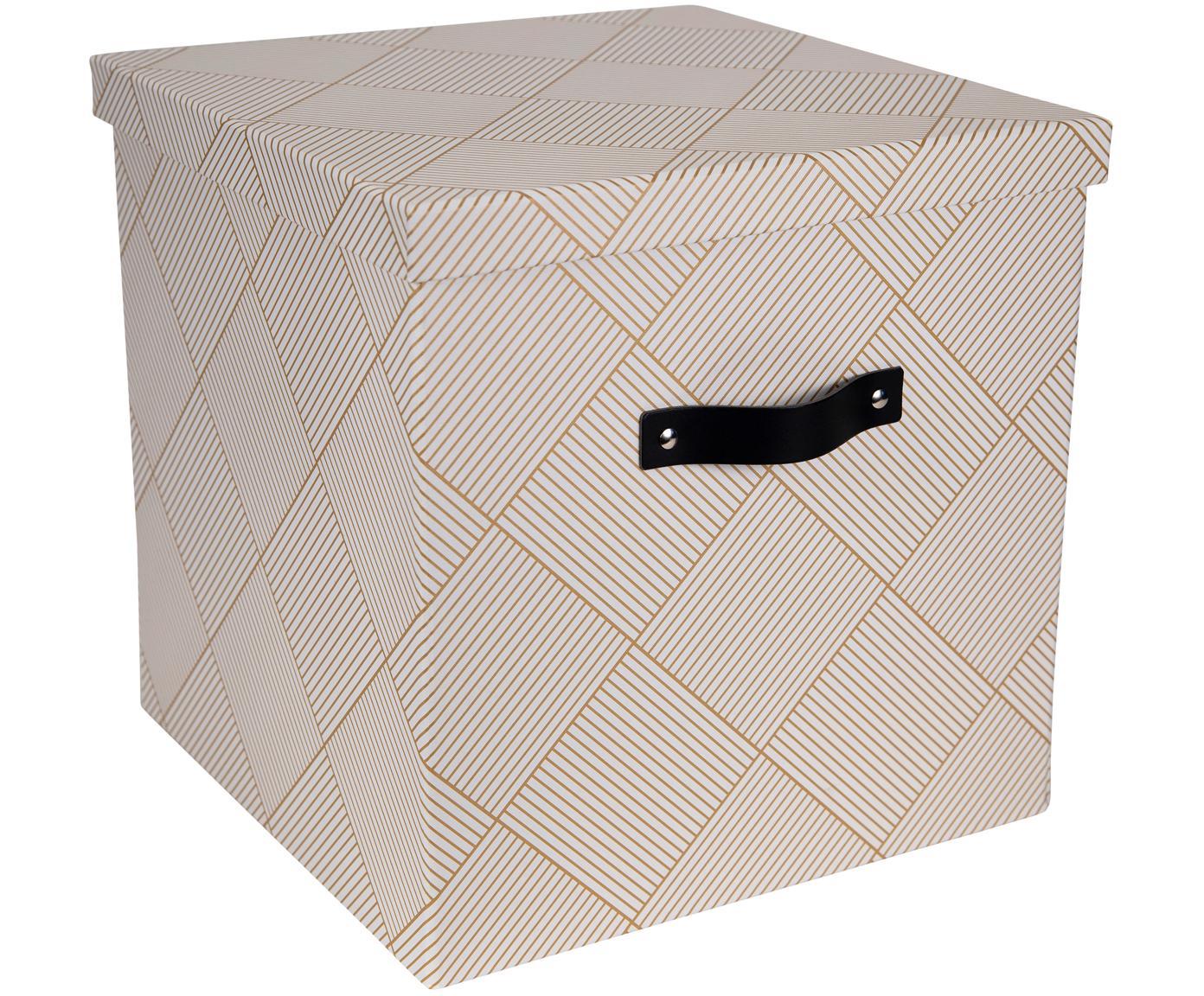 Scatola con coperchio Texas, Scatola: solido, cartone laminato, Manico: pelle, Dorato, bianco, Larg. 32 x Alt. 31 cm