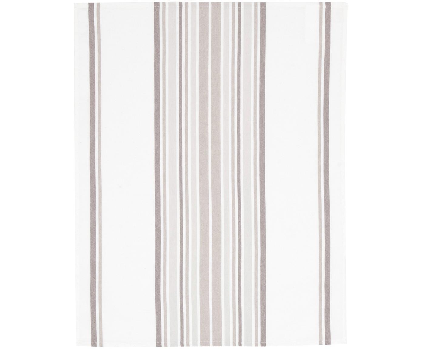 Theedoeken Katie, 2 stuks, Katoen, Wit, beige, 50 x 70 cm