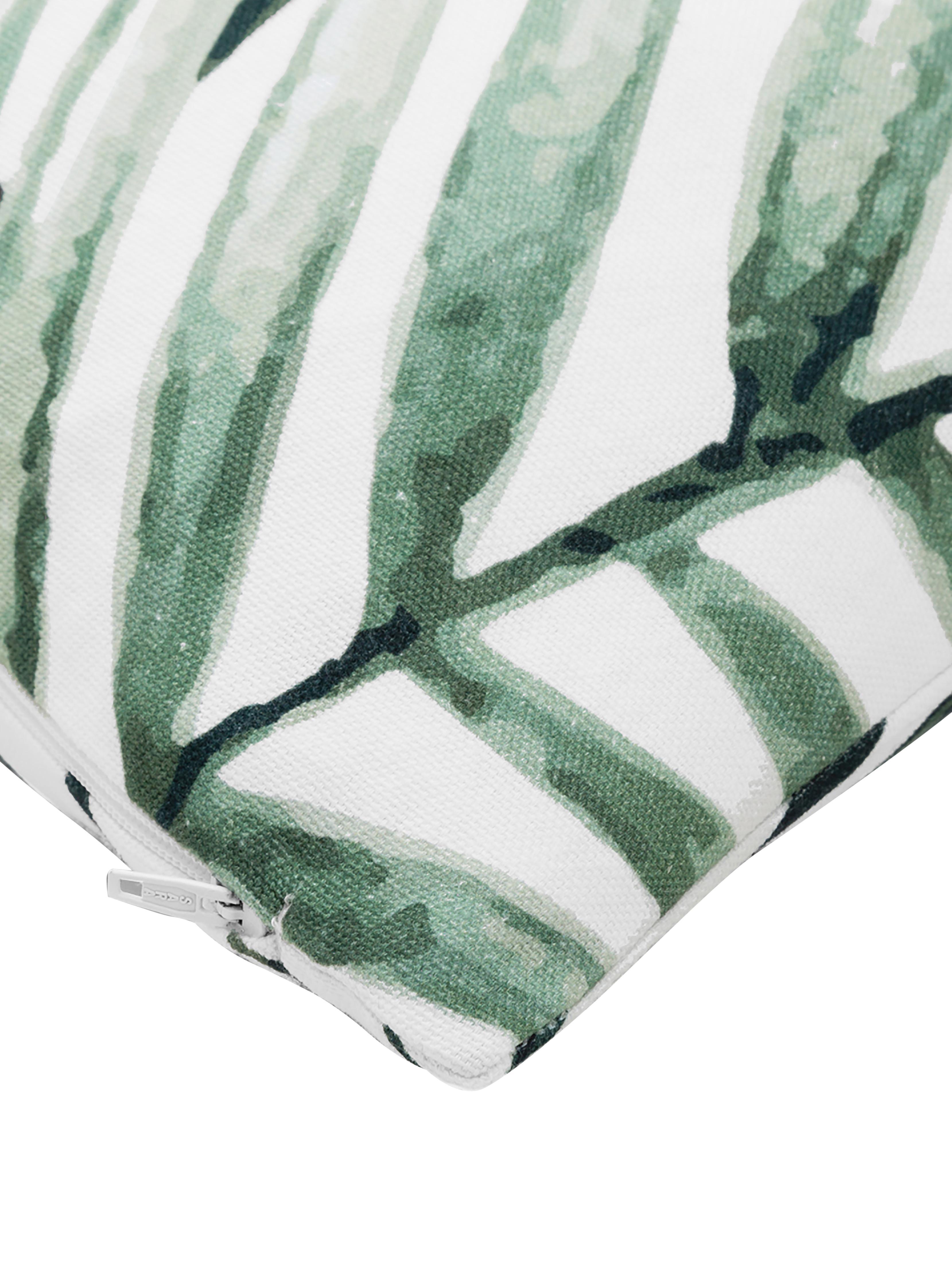 Kissenhülle Coast mit Blattmuster, 100% Baumwolle, Grün, Weiß, 50 x 50 cm
