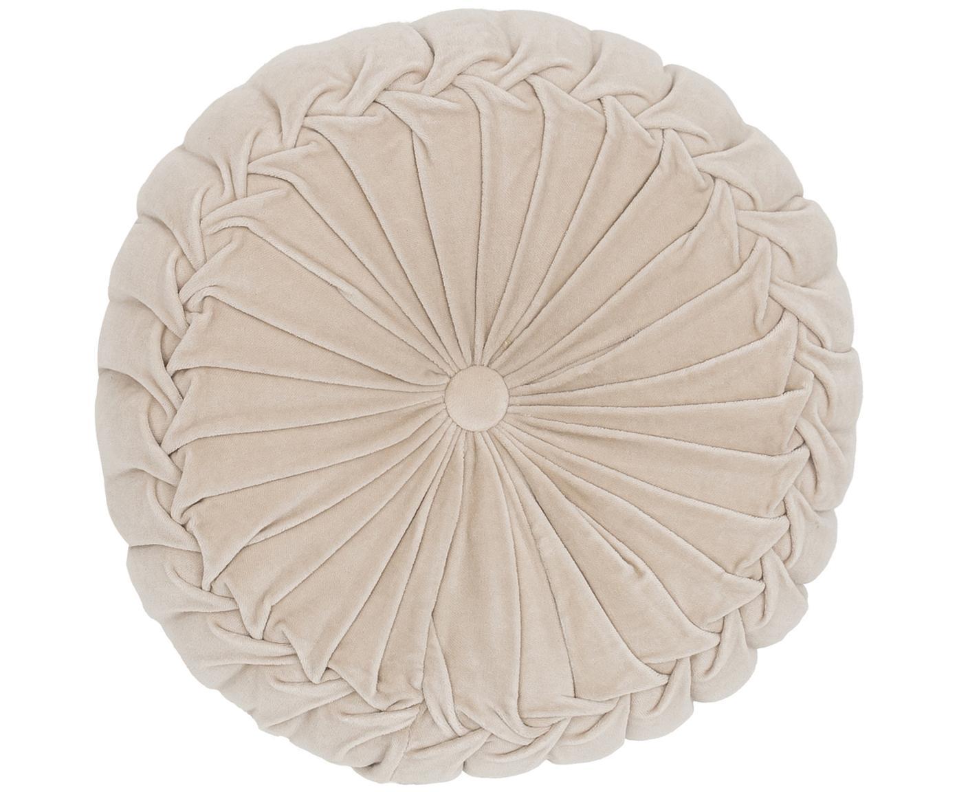 Rond fluwelen kussen Kanan met plooien, met vulling, Crèmekleurig, Ø 40 x H 10 cm