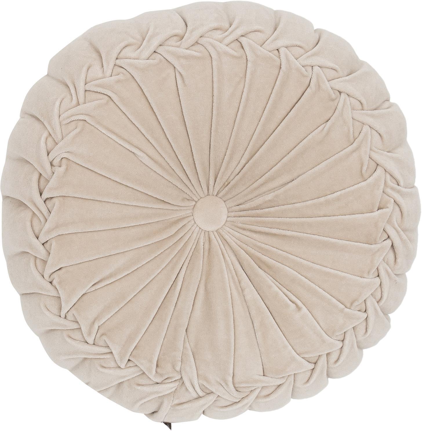 Cojín redondo de terciopelo Kanan, con relleno, Funda: terciopelo 100%algodón, Crema, Ø 40 x Al 10 cm