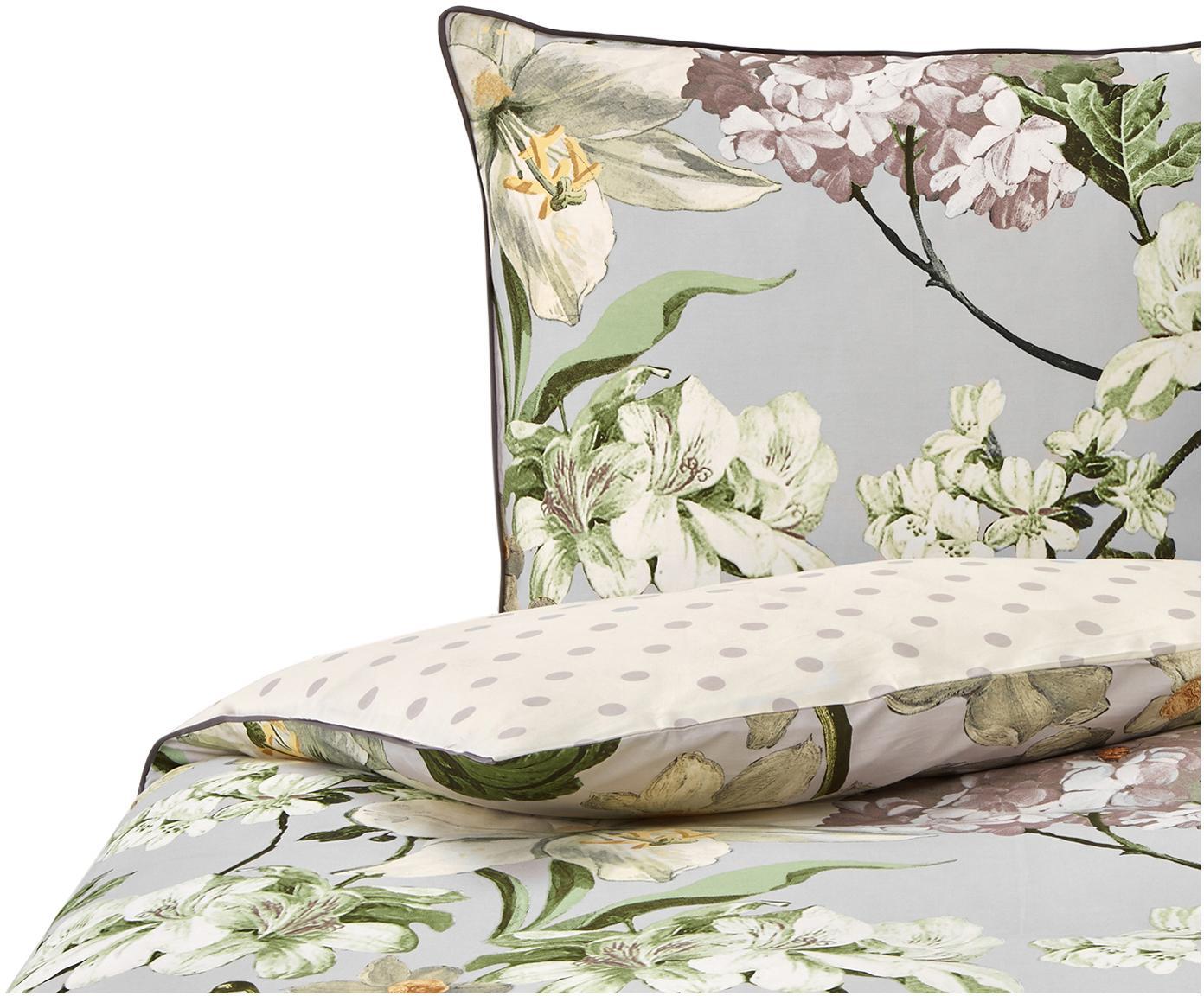 Baumwollsatin-Wendebettwäsche Rosalee mit Blumen-Muster, Webart: Satin Fadendichte 215 TC,, Grau, Mehrfarbig, 135 x 200 cm + 1 Kissen 80 x 80 cm