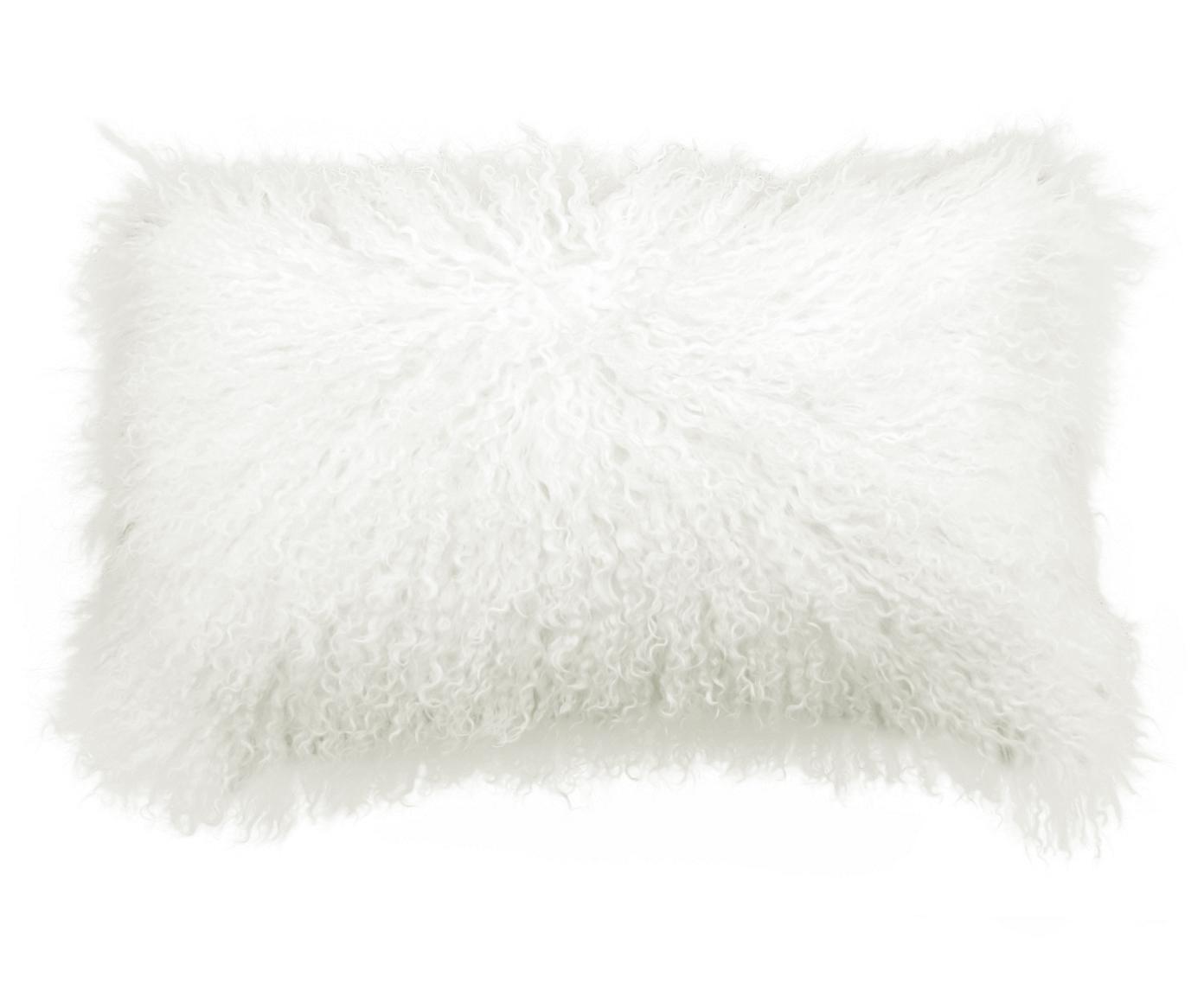 Kussenhoes van langharige schapenvacht Ella, Gebroken wit, 30 x 50 cm