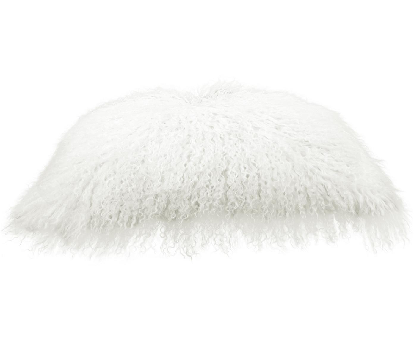 Poszewka na poduszkę ze skóry jagnięcej o długim włosiu Ella, Naturalny biały, S 30 x D 50 cm