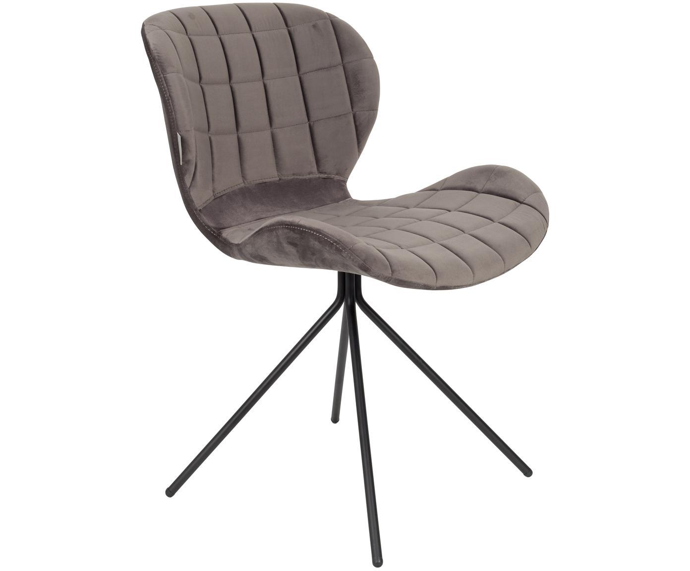 Fluwelen stoel OMG, Bekleding: polyester fluweel, Frame: gepoedercoat staal, Frame: multiplex, Bekleding: grijs. Poten: zwart, 51 x 80 cm