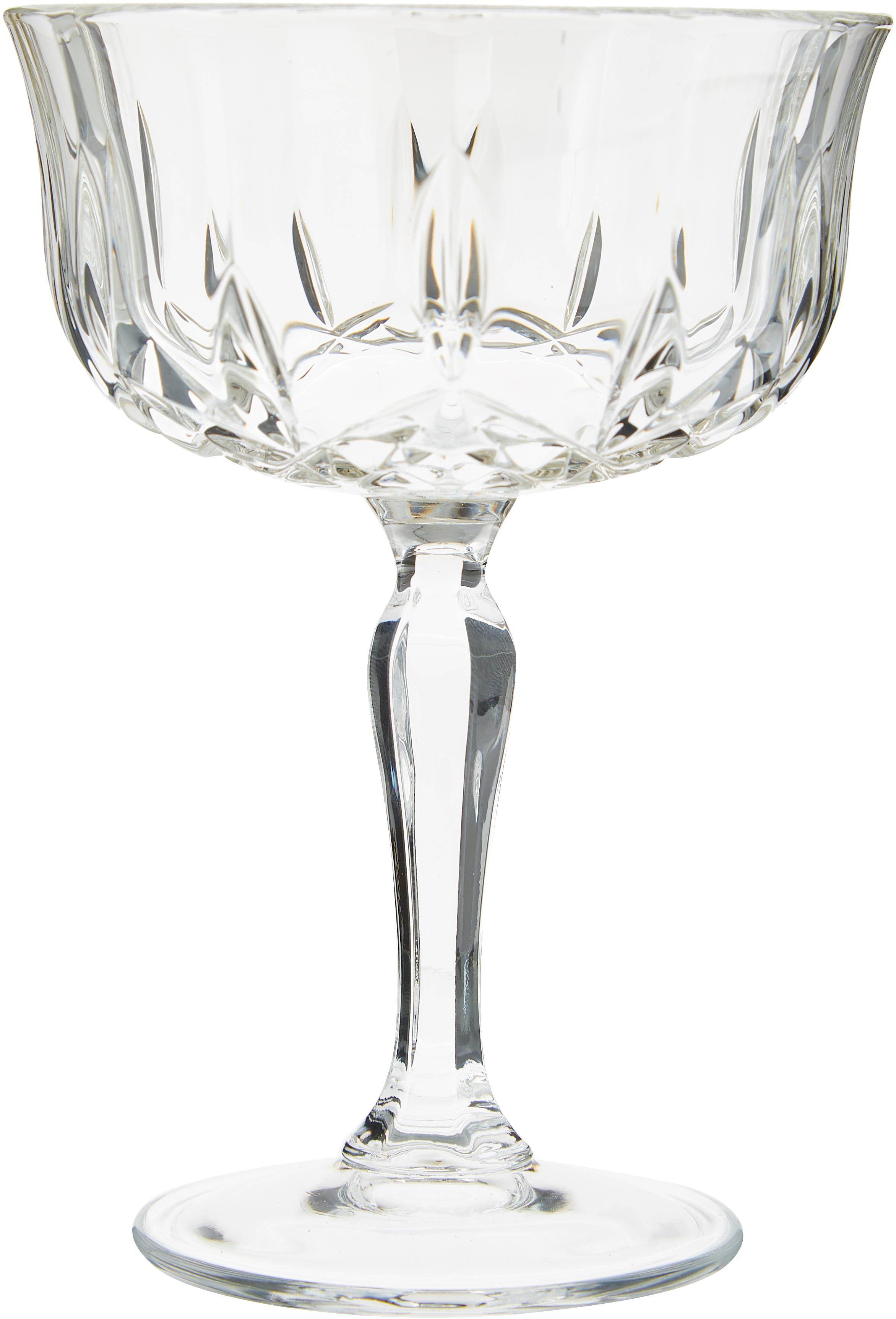 Copas pompadour de champán de cristal Opera, 6uds., Cristal Luxion, Transparente, Ø 10 x Al 14 cm