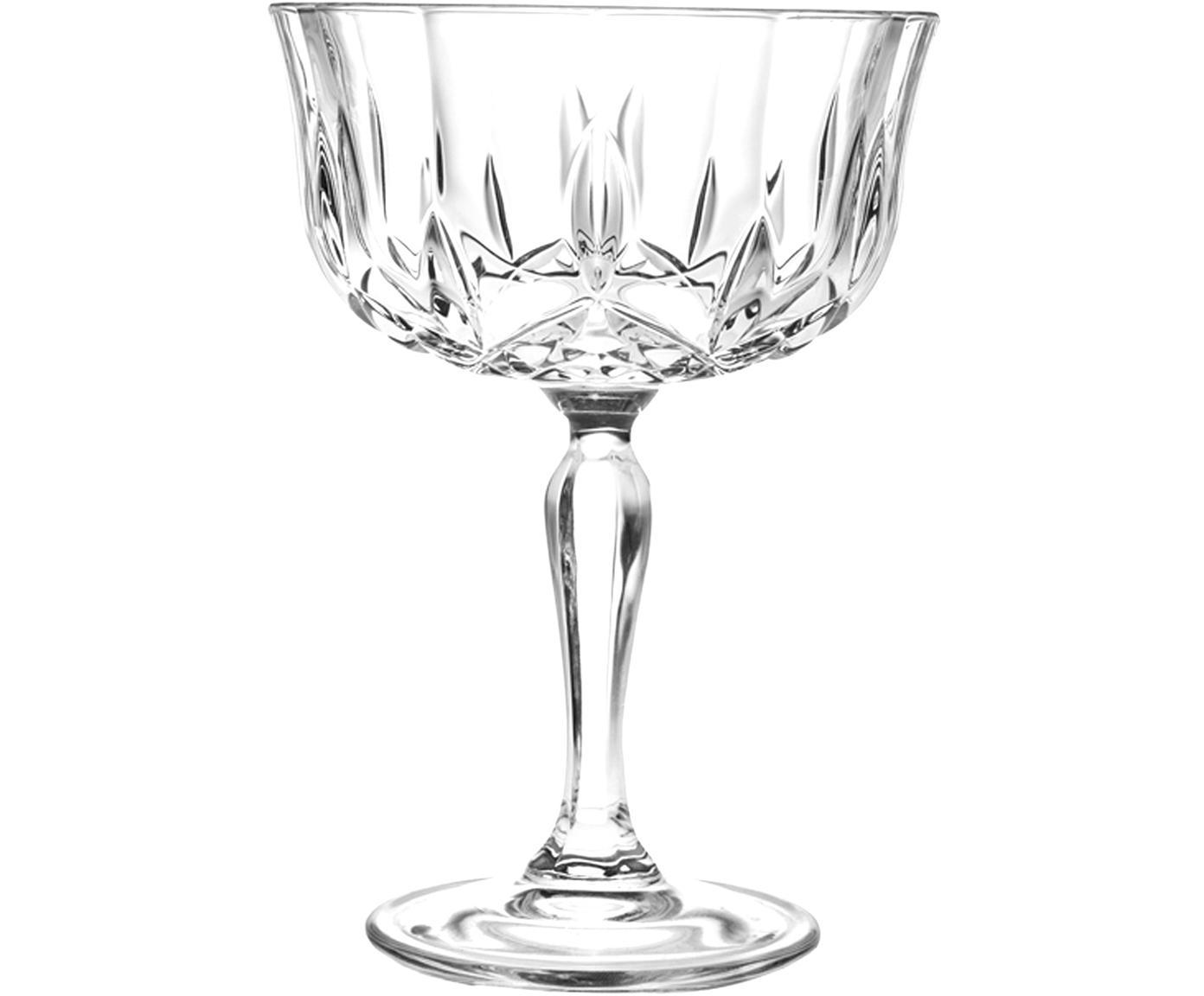 Kristall-Champagnerschalen Opera mit Reliefmuster, 6er-Set, Luxion-Kristallglas, Transparent, Ø 10 x H 14 cm