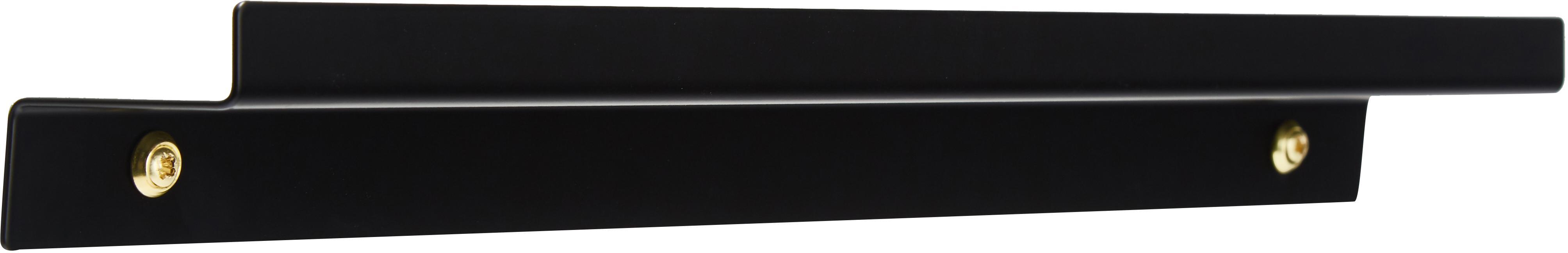 Portafotografie stretto in nero Shelfini, Asta: metallo verniciato, Nero, ottone, Larg. 50 x Alt. 6 cm
