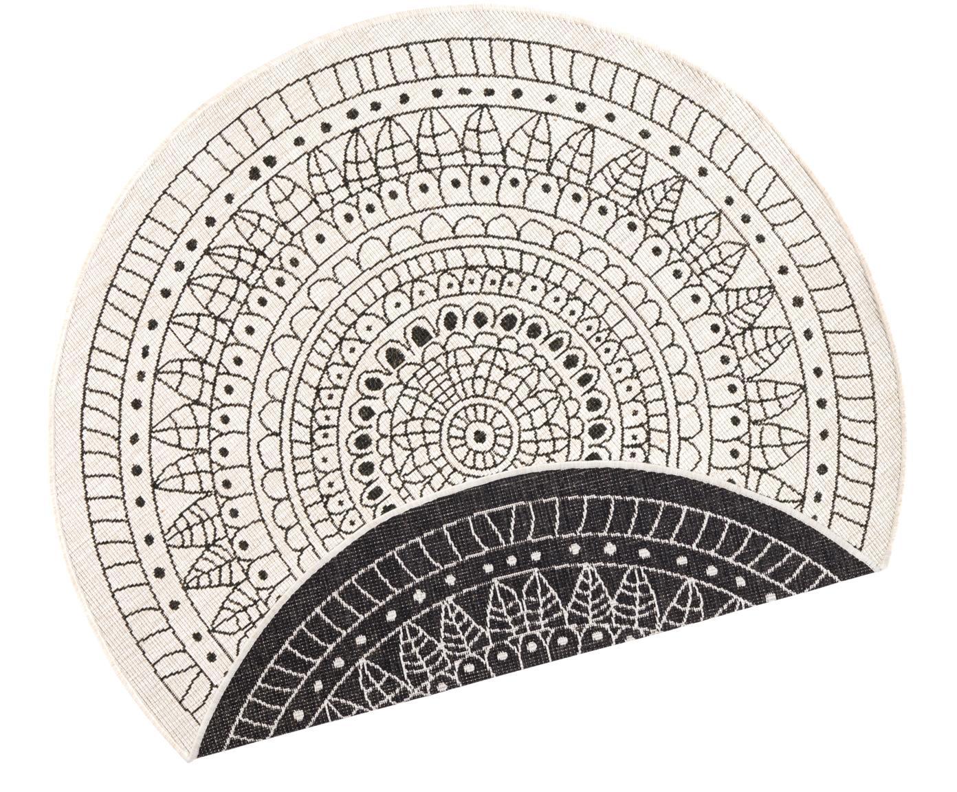 Alfombra redonda reversible de interior/exterior Porto, Negro, crema, Ø 140 cm (Tamaño M)