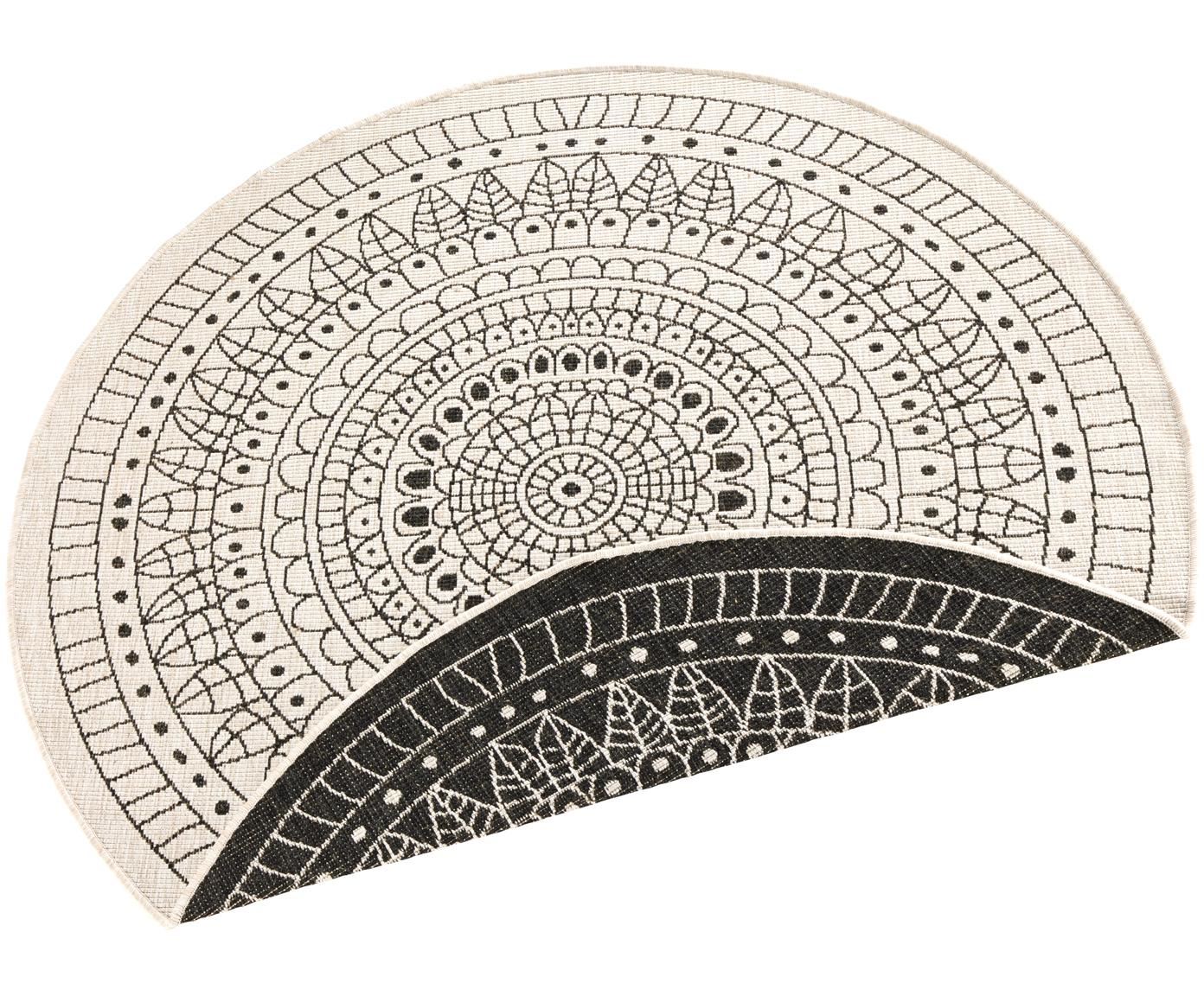 Alfombra redonda reversible de interior/exterior Porto, Negro, crema, Ø 200 cm (Tamaño L)