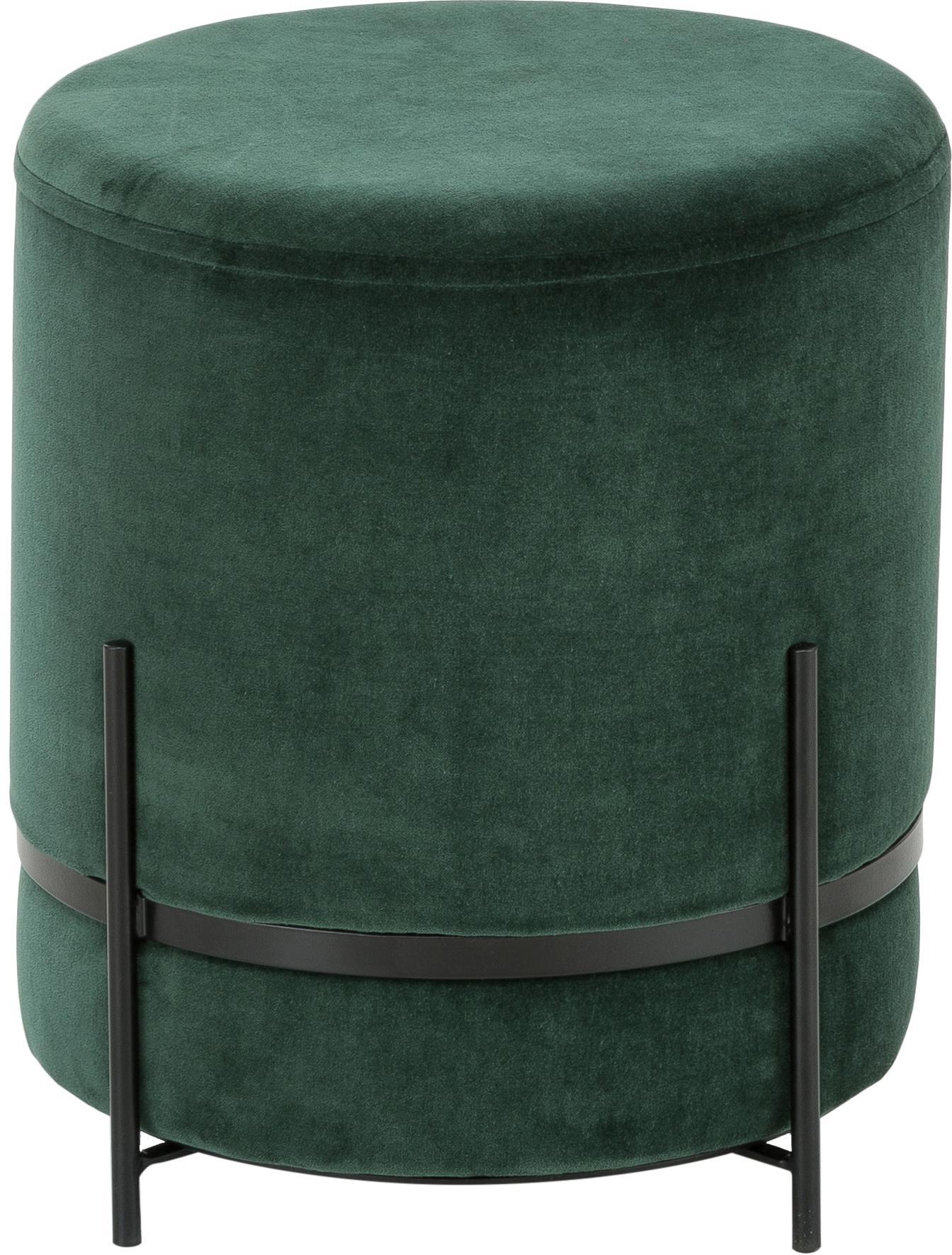 Puf z aksamitu Haven, Tapicerka: aksamit bawełniany, Ciemnyzielony, czarny, ∅ 38 x W 45 cm