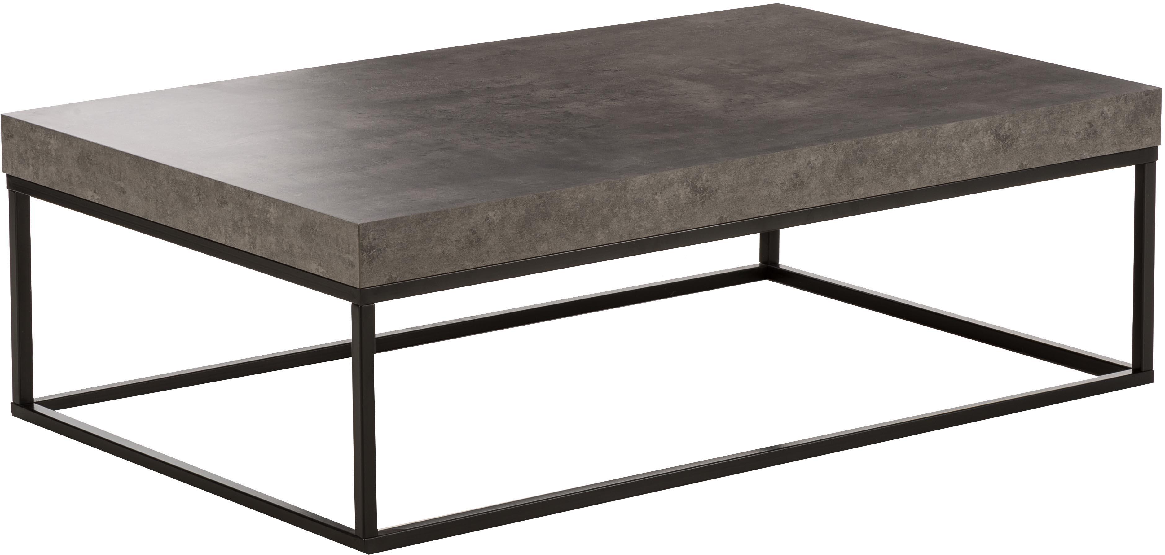 Mesa de centro en cemento Ellis, Tablero: estructura ligera de pana, Estructura: metal pintado, Negro, imitación de cemento, An 120 x F 38 cm