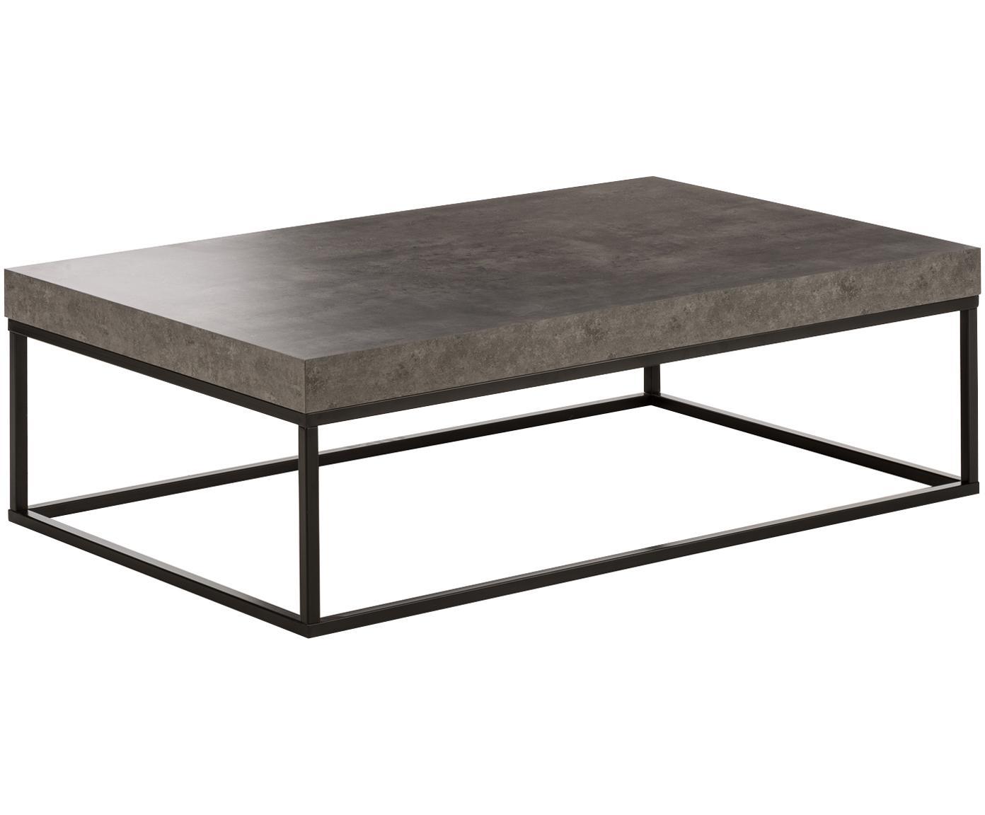 Mesa de centro en cemento Ellis, Tablero: estructura ligera de pana, Estructura: metal pintado, Negro, imitación de cemento, An 120 x F 75 cm