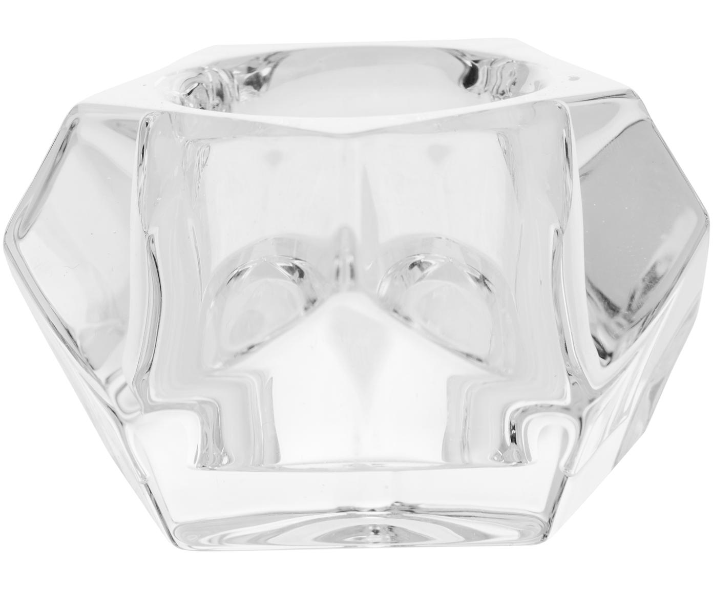 Teelichthalter Obesse, Glas, Transparent, Ø 9 x H 6 cm