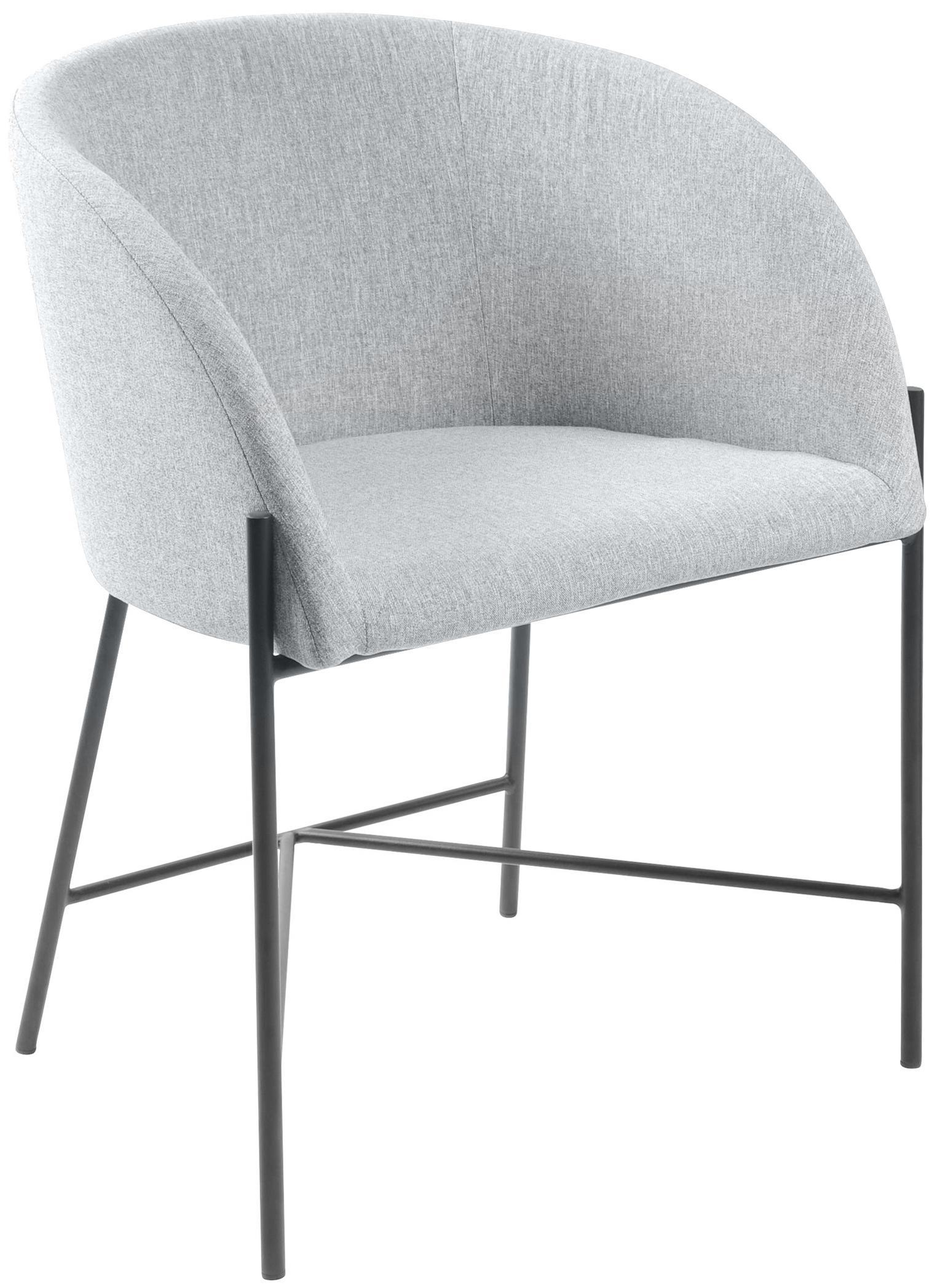Armstoel Nelson, Bekleding: polyester, Poten: gelakt metaal, Geweven stof lichtgrijs, poten zwart, B 56 x D 54 cm