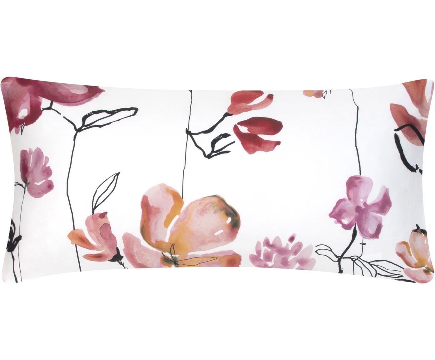 Baumwollsatin-Kissenbezüge Fiori mit Blumen-Muster, 2 Stück, Webart: Satin Fadendichte 200 TC,, Weiß, Rosa, Schwarz, 40 x 80 cm