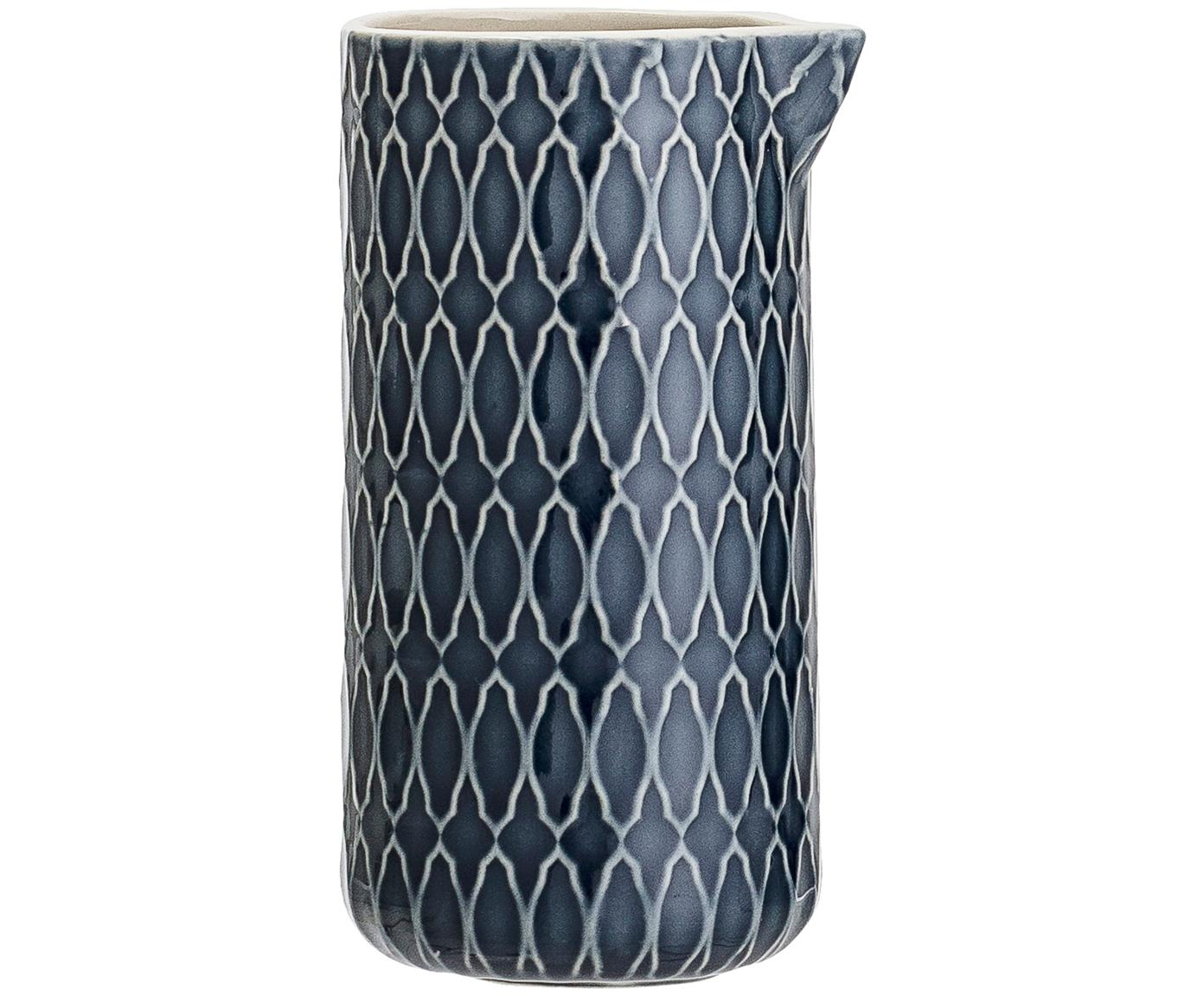 Gemustertes Milchkännchen Naomi in Dunkelblau, Steingut, Blau, Weiß, Ø 6 x H 12 cm