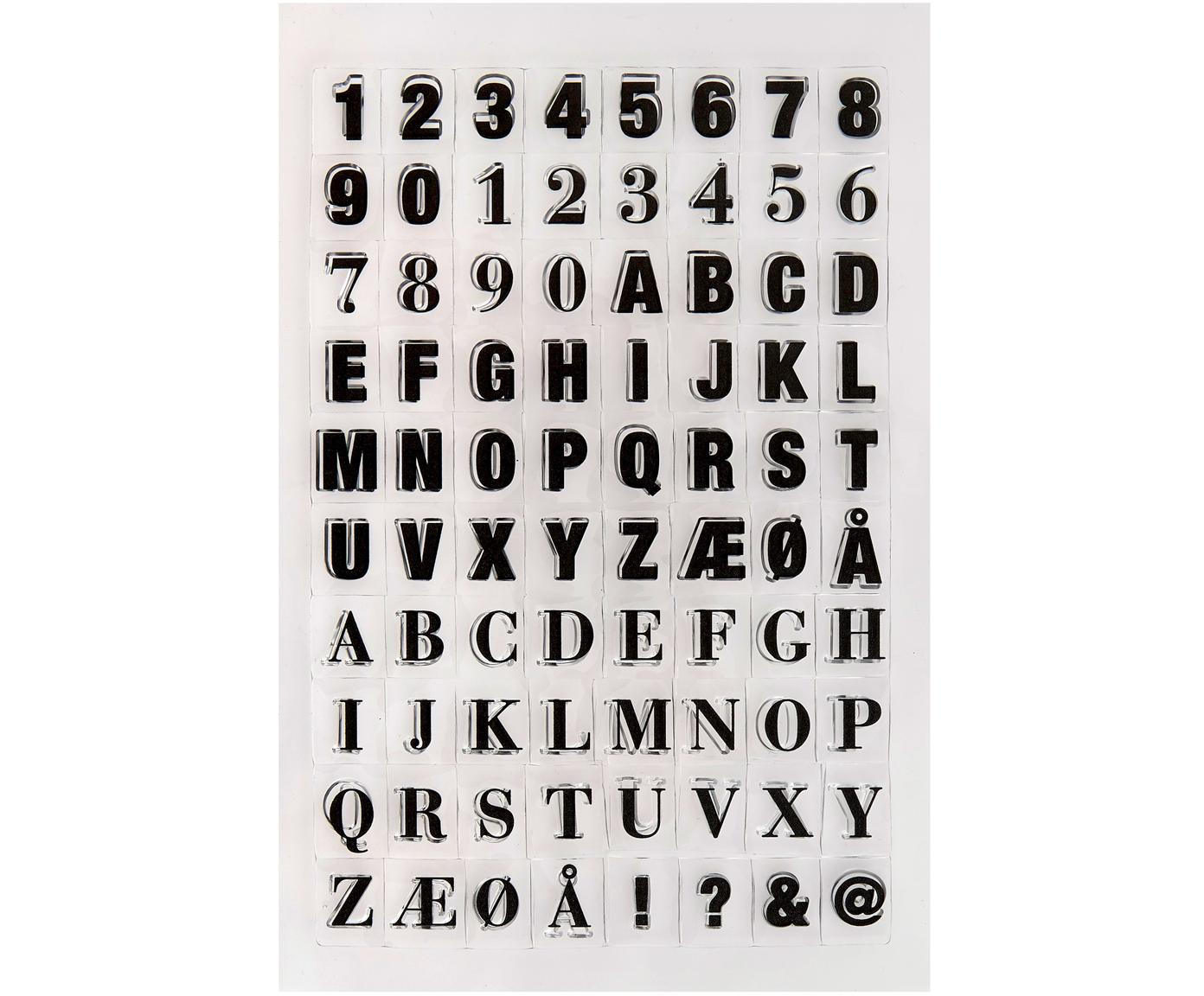Stempelpatronenset Letters & Numbers, Siliconen, Zwart, transparant, 14 x 21 cm