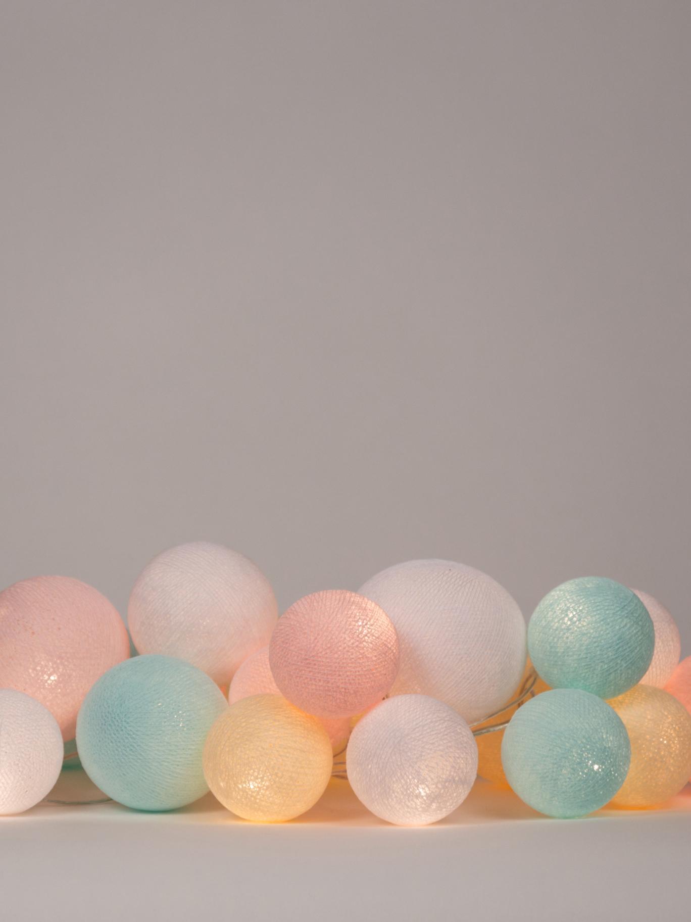 LED Lichterkette Moodi, Lampions: Polyester, Rosa, Blau, Beige, Weiß, L 264 cm